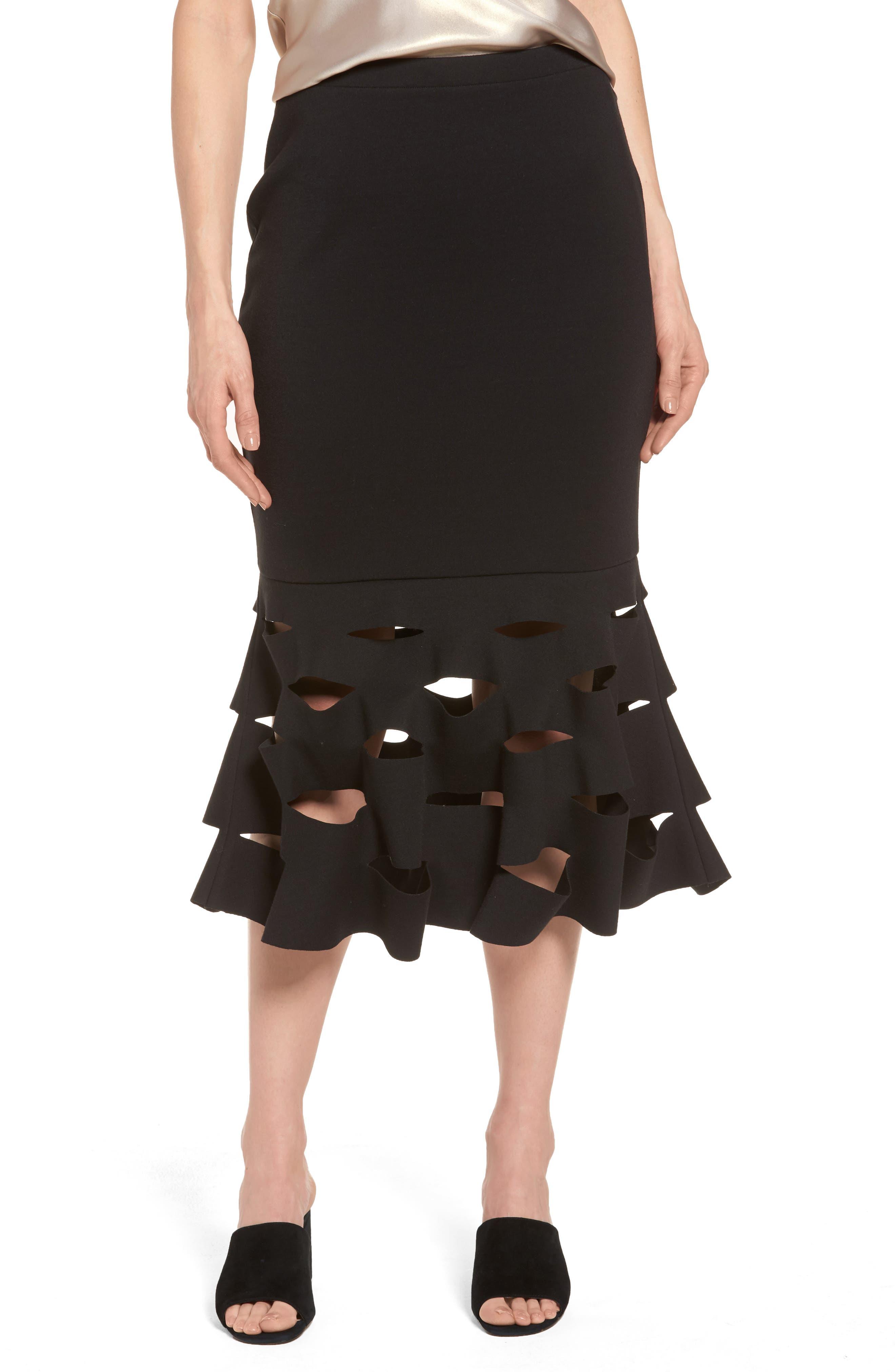 Slash Bonded Midi Skirt,                         Main,                         color, Black
