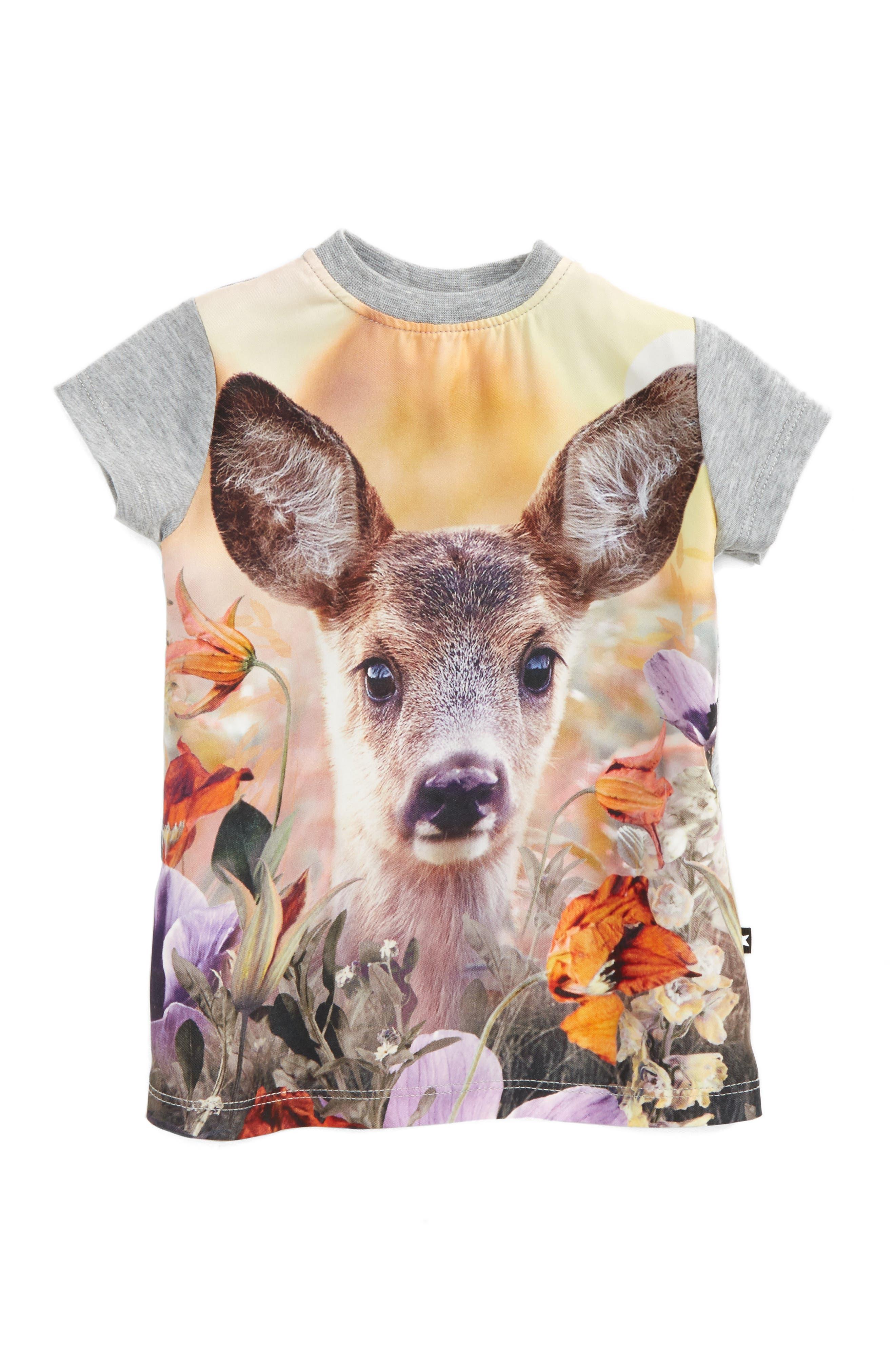 Corina Print Short Sleeve Dress,                         Main,                         color, Little Roe Deer
