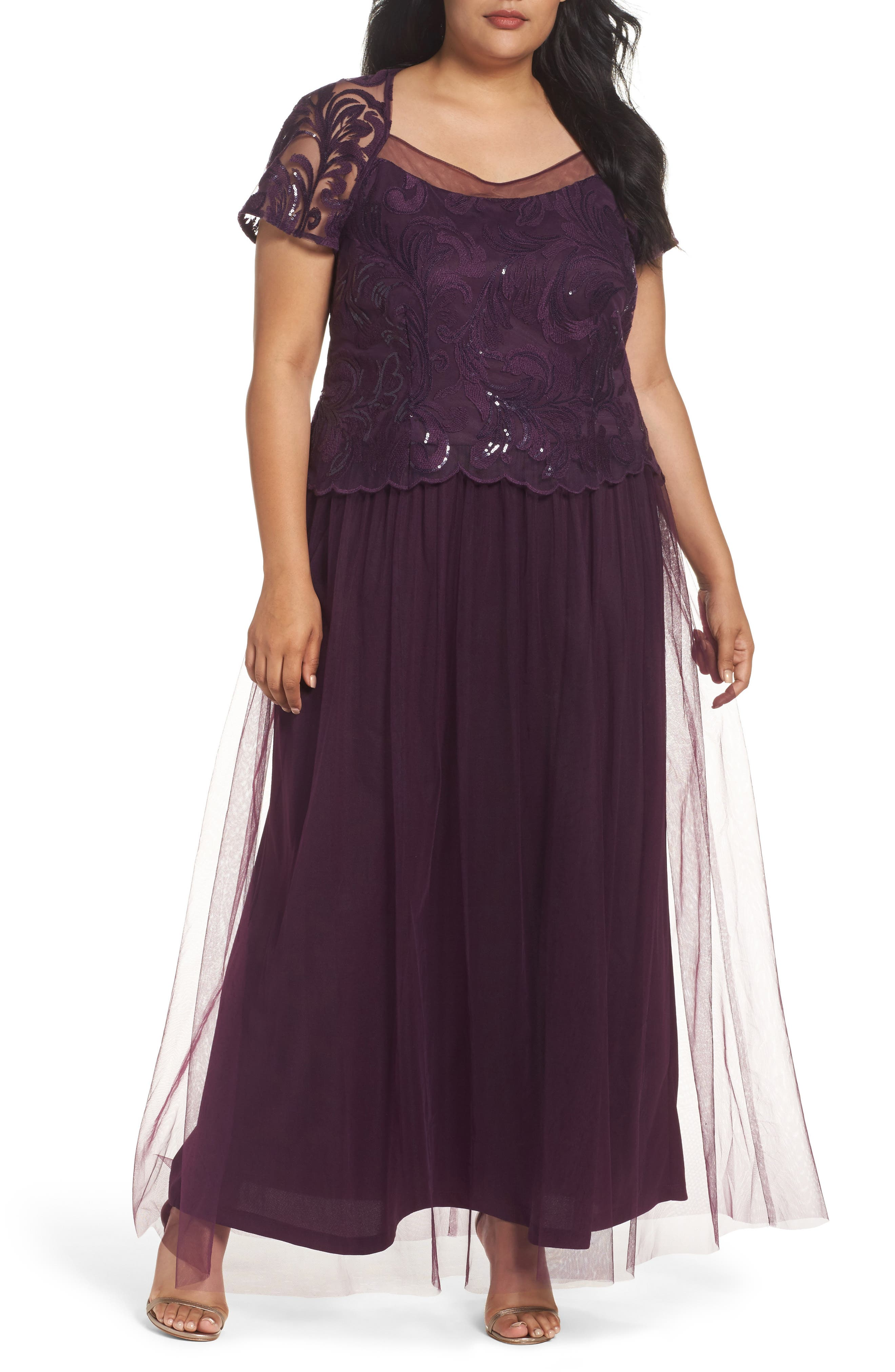 Sequin Bodice Gown,                         Main,                         color, Eggplant