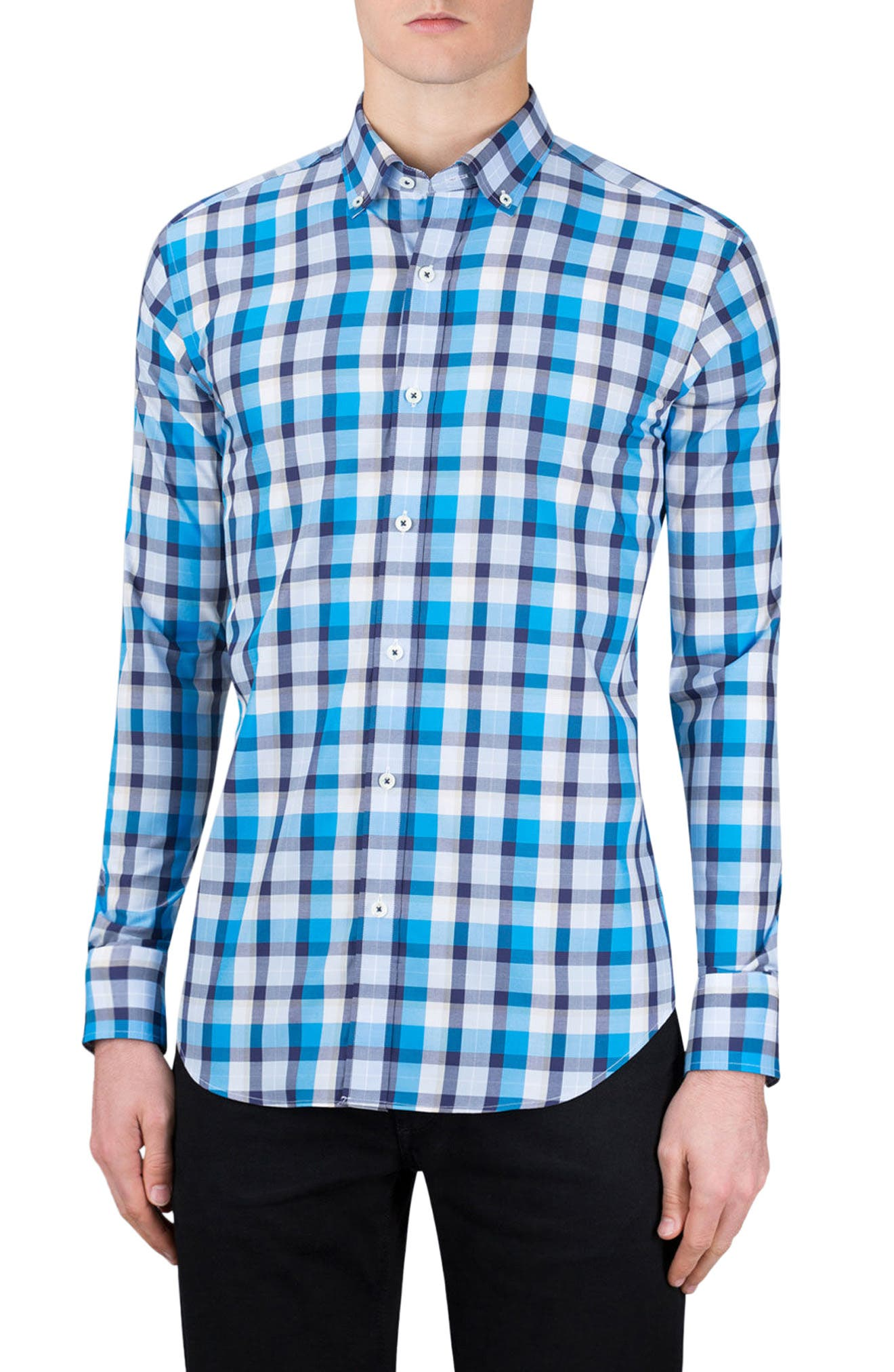Classic Fit Check Sport Shirt,                         Main,                         color, Turquoise