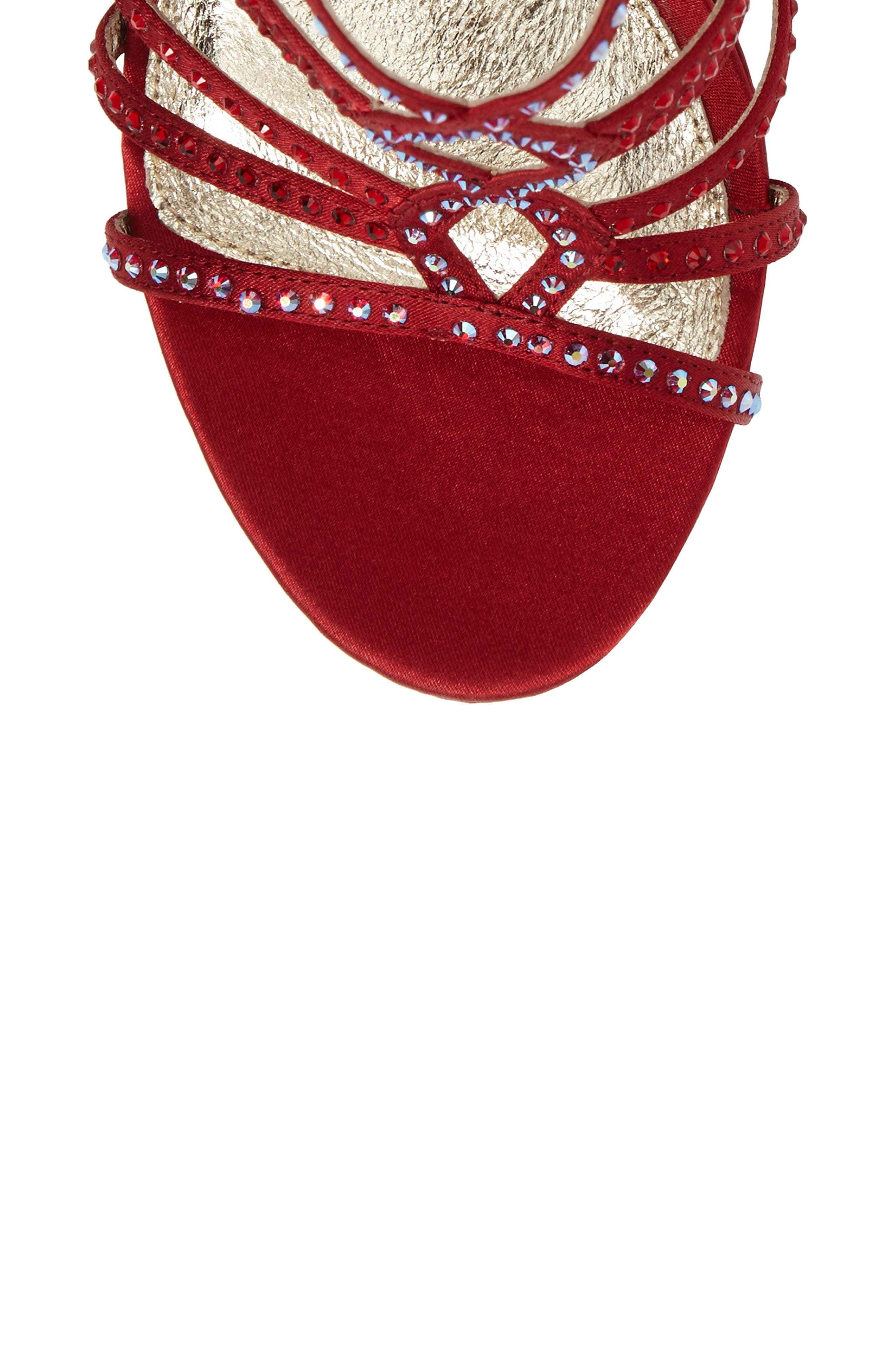 Miranda Embellished Platform Sandal,                             Alternate thumbnail 5, color,                             Red Classic Satin