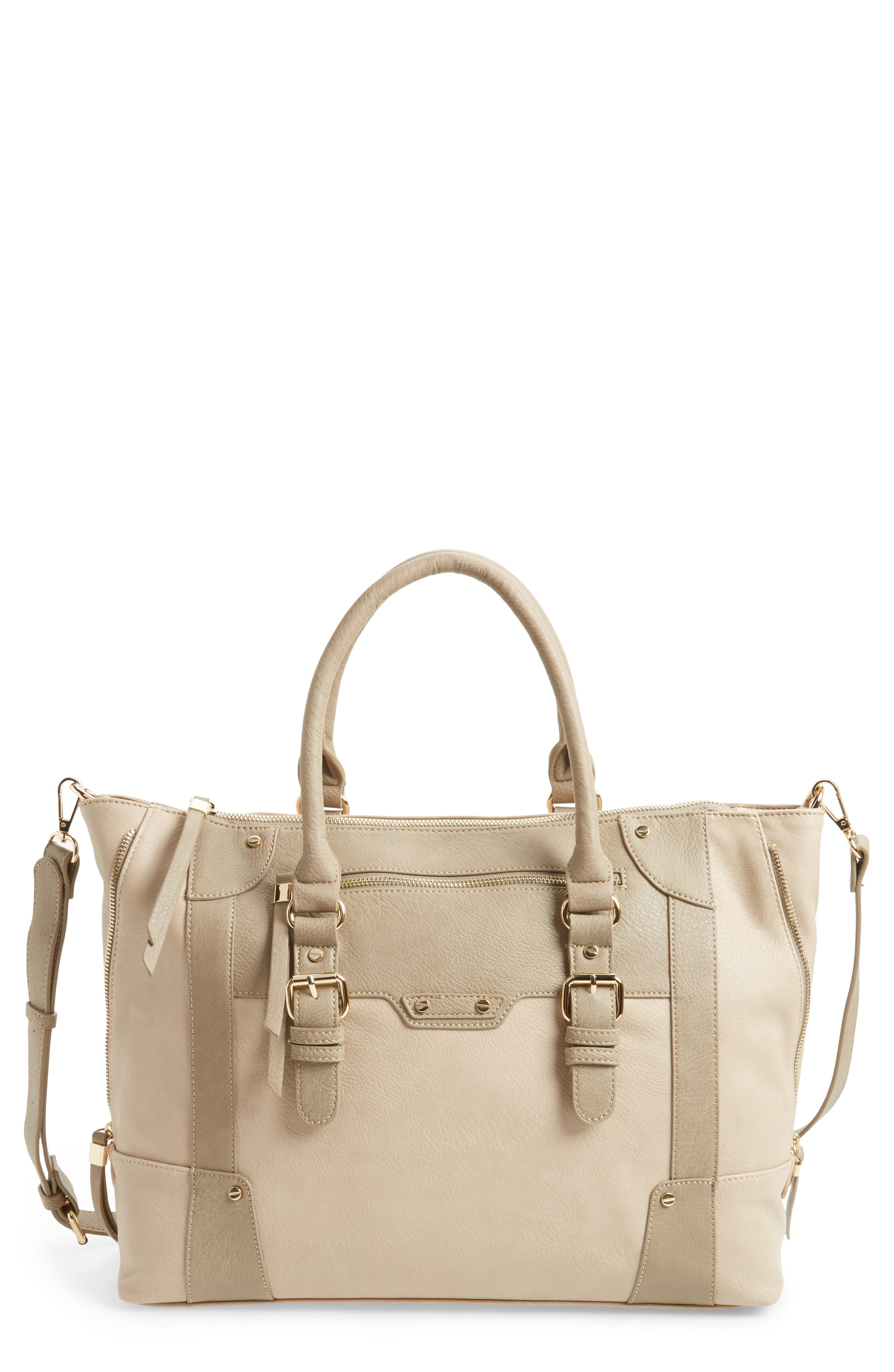 'Susan' Winged Faux Leather Tote,                             Main thumbnail 1, color,                             Taupe