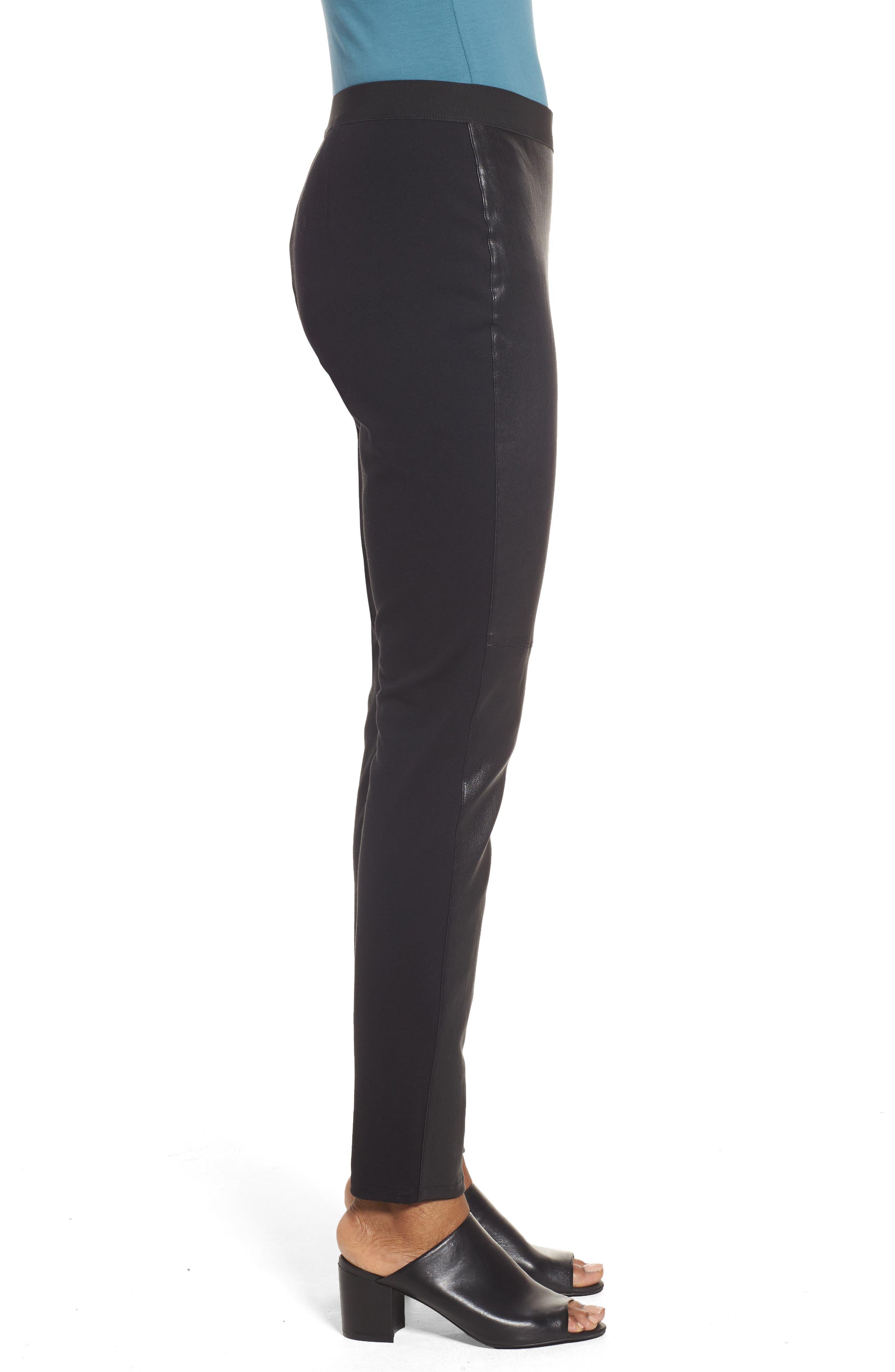 Leather Blocked Leggings,                             Alternate thumbnail 3, color,                             Black