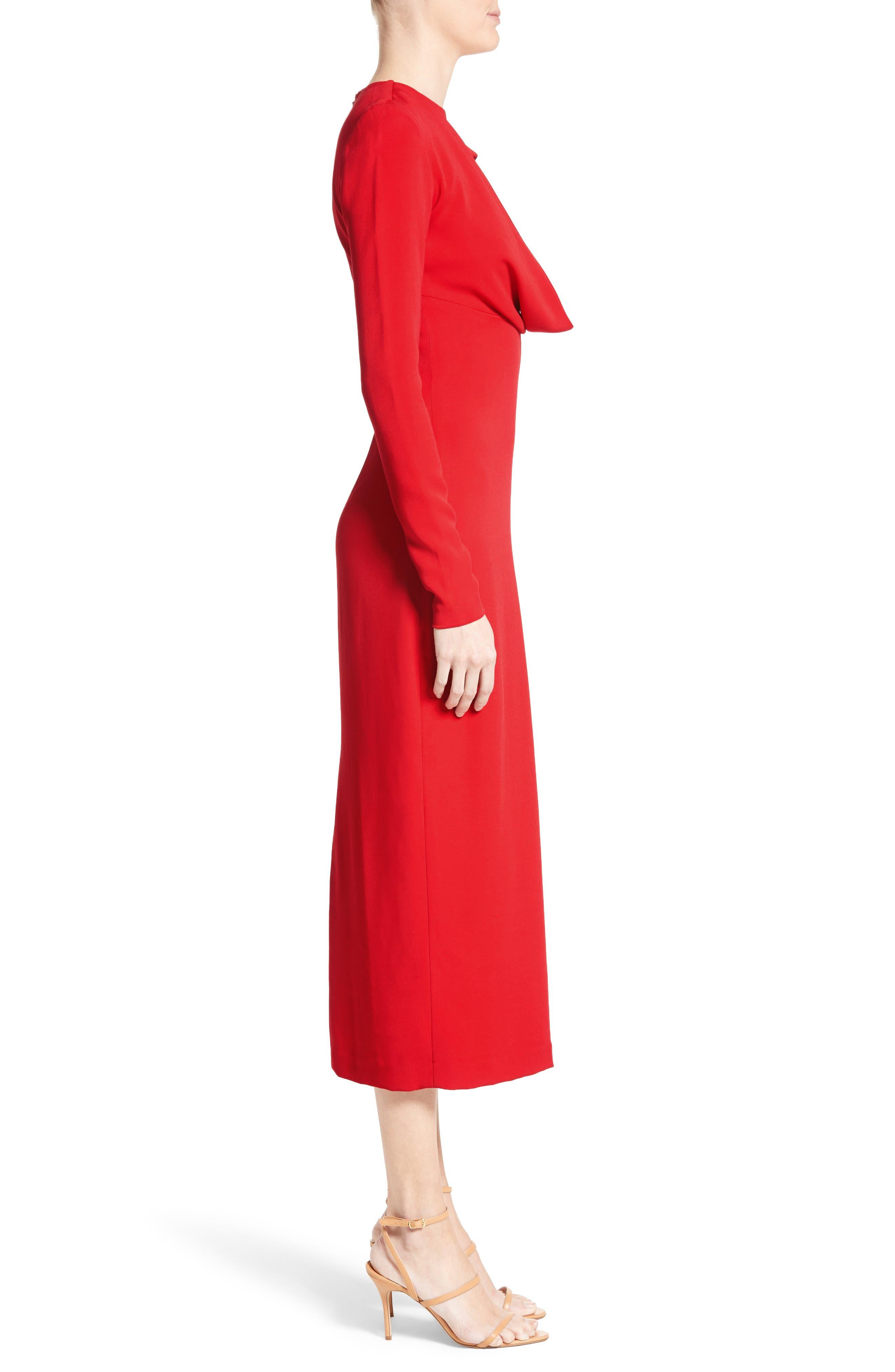 Cowl Neck Pencil Dress,                             Alternate thumbnail 5, color,                             Poppy