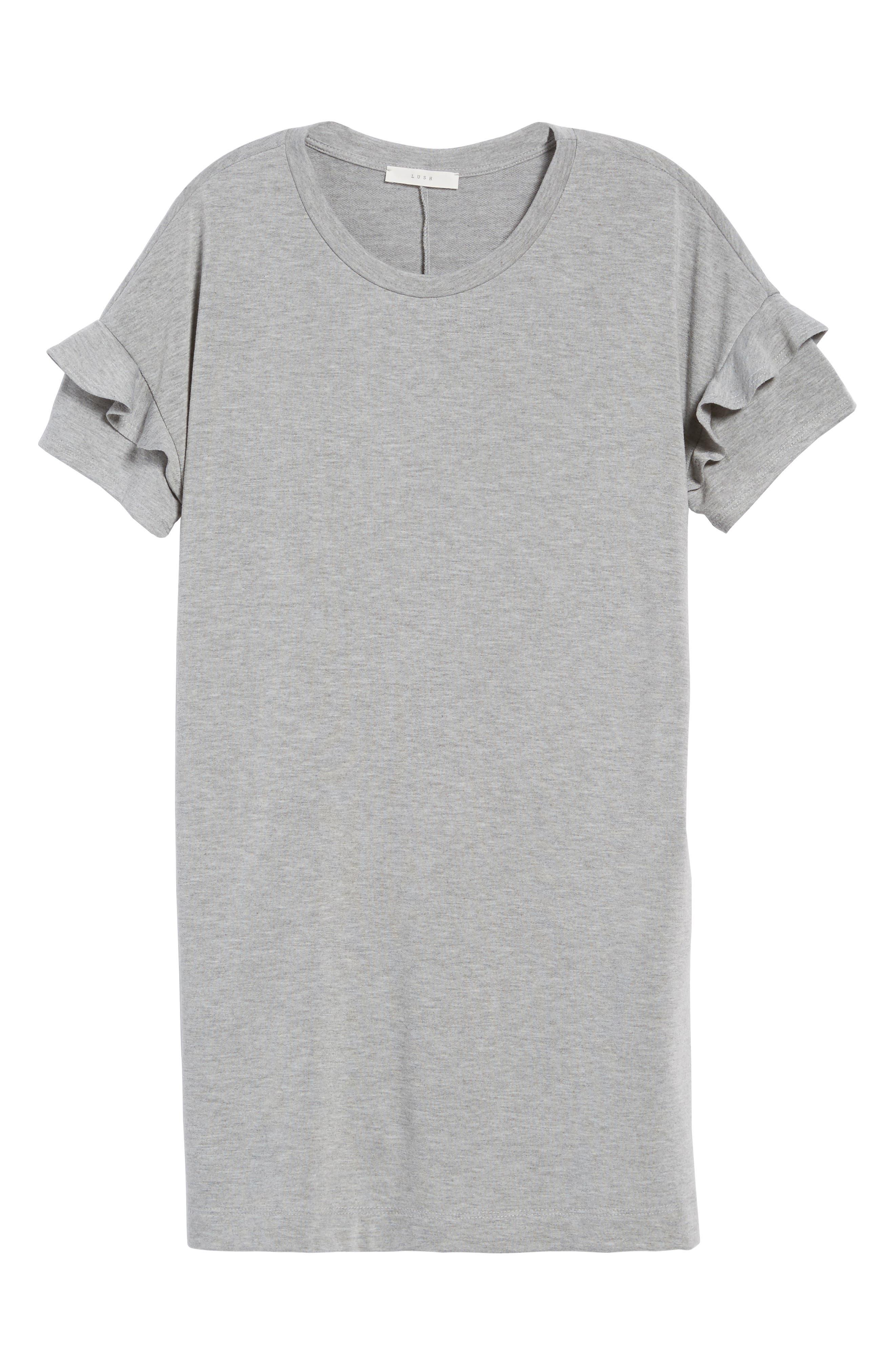 Ruffle Sleeve T-Shirt Dress,                             Alternate thumbnail 6, color,                             Heather Grey
