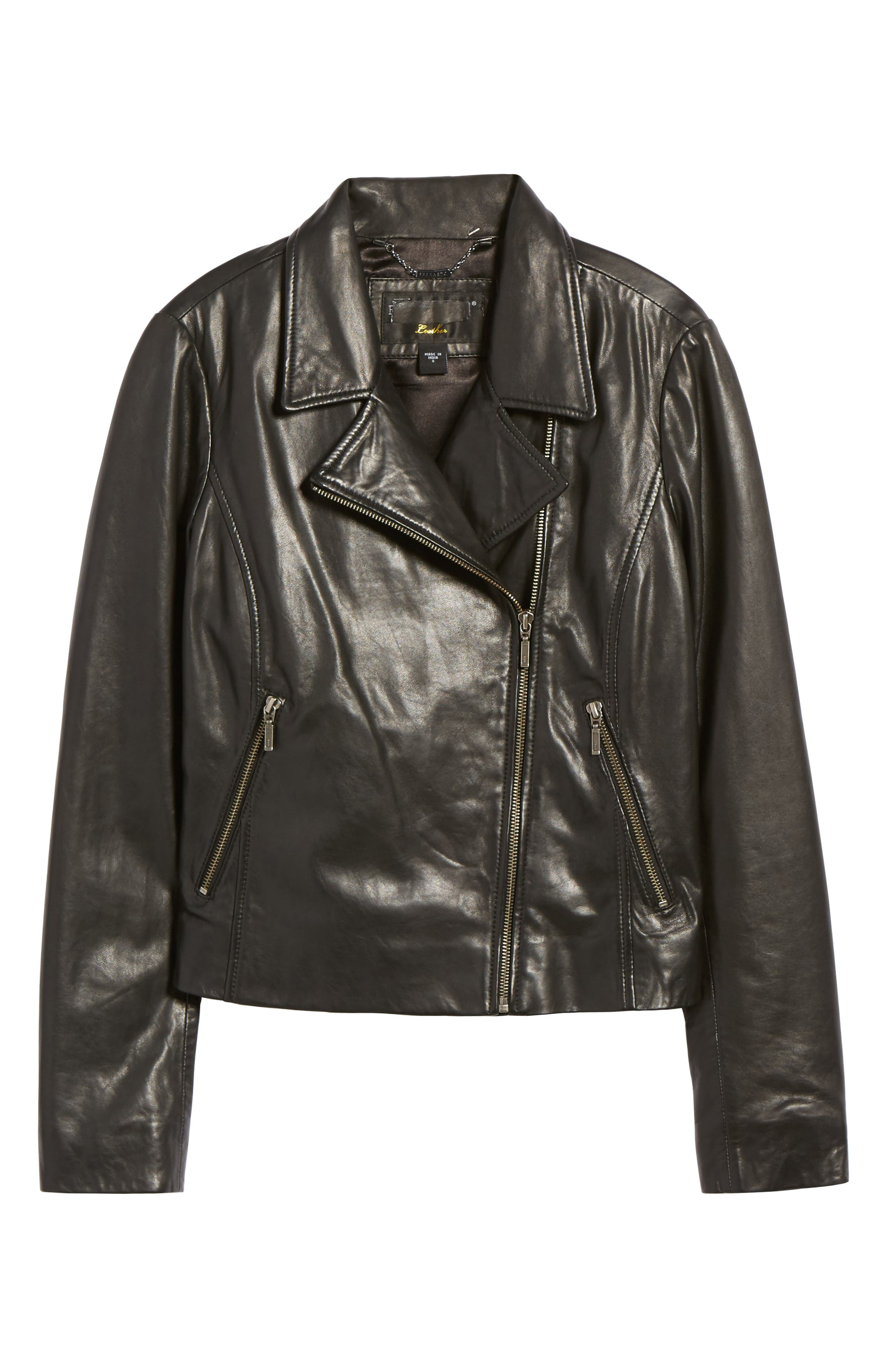 Alternate Image 6  - Halogen® Leather Moto Jacket (Regular & Petite)