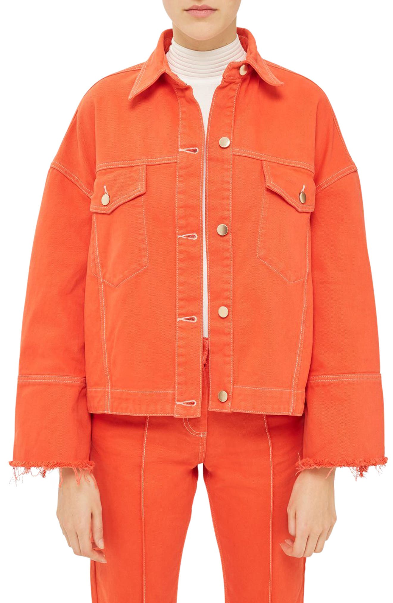Topshop Boutique Raw Cuff Denim Jacket
