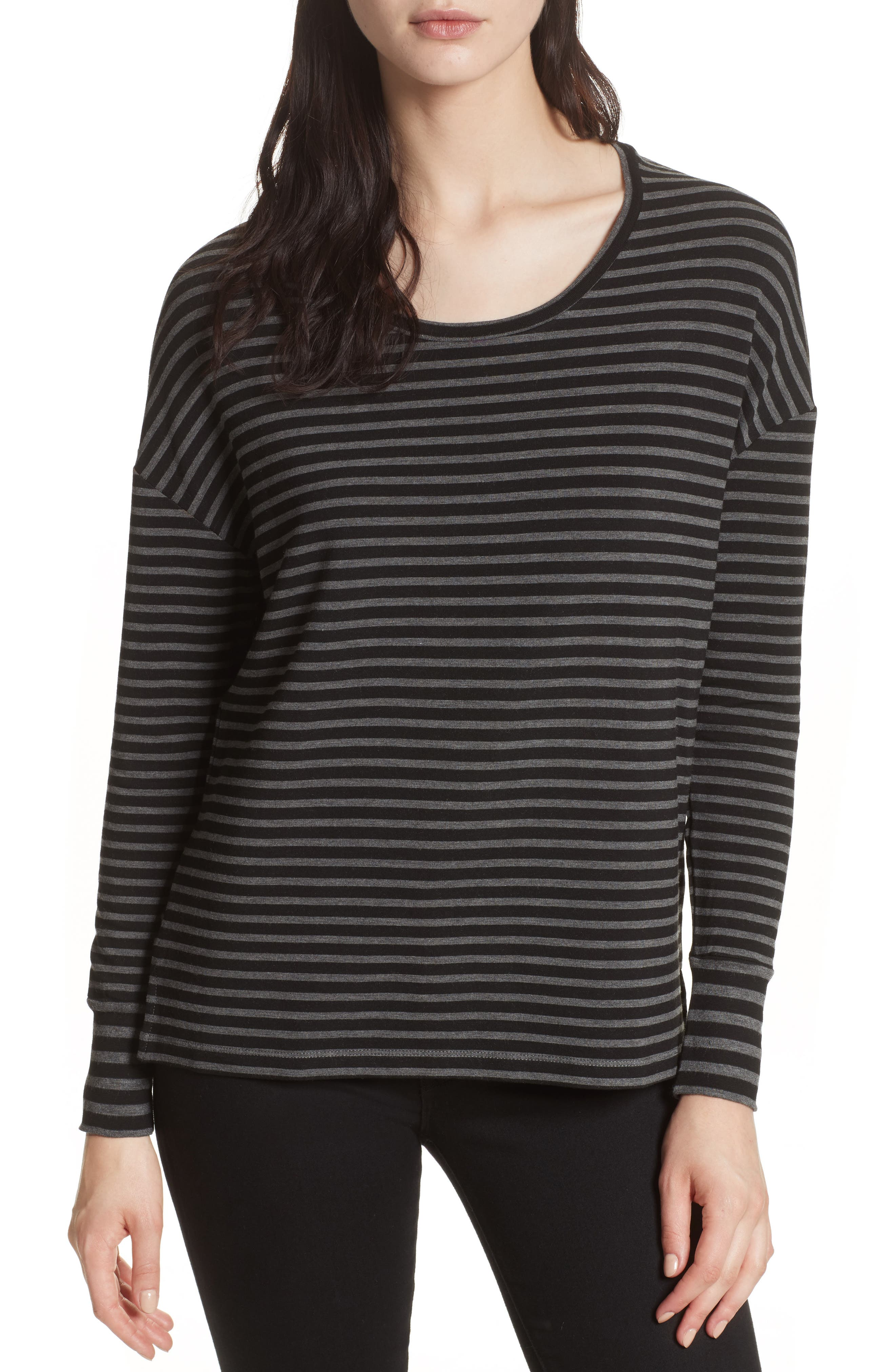 Striped Terry Tee,                         Main,                         color, Anthracite/ Black