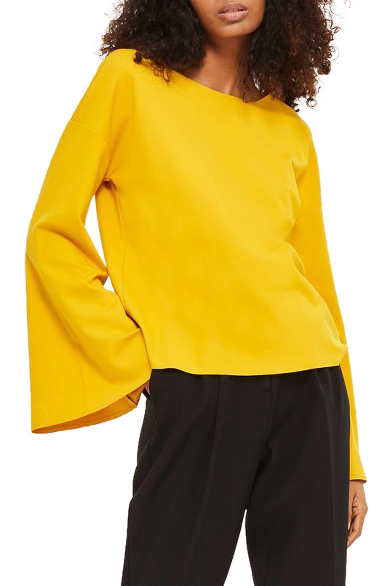 Split Back Bell Sleeve Sweatshirt,                         Main,                         color, Yellow