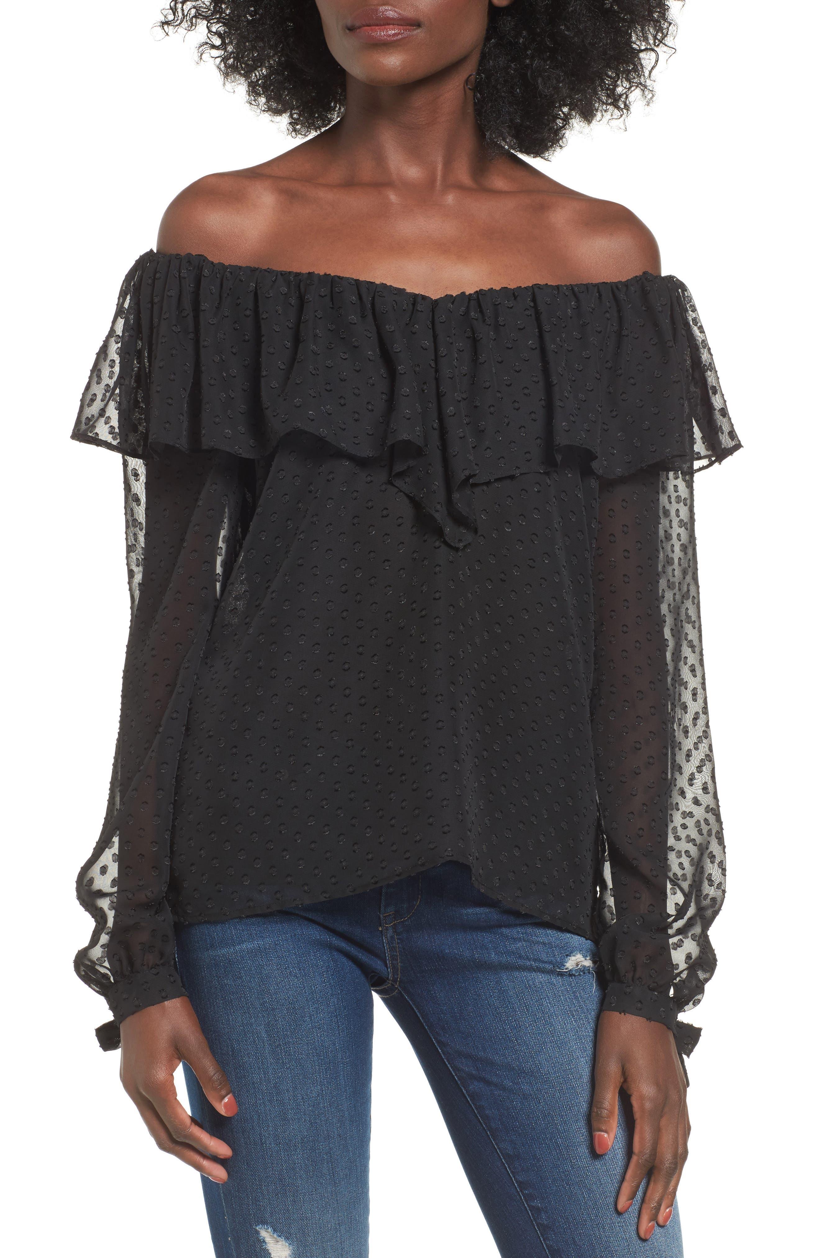 Kiere Ruffle Off the Shoulder Top,                         Main,                         color, Black