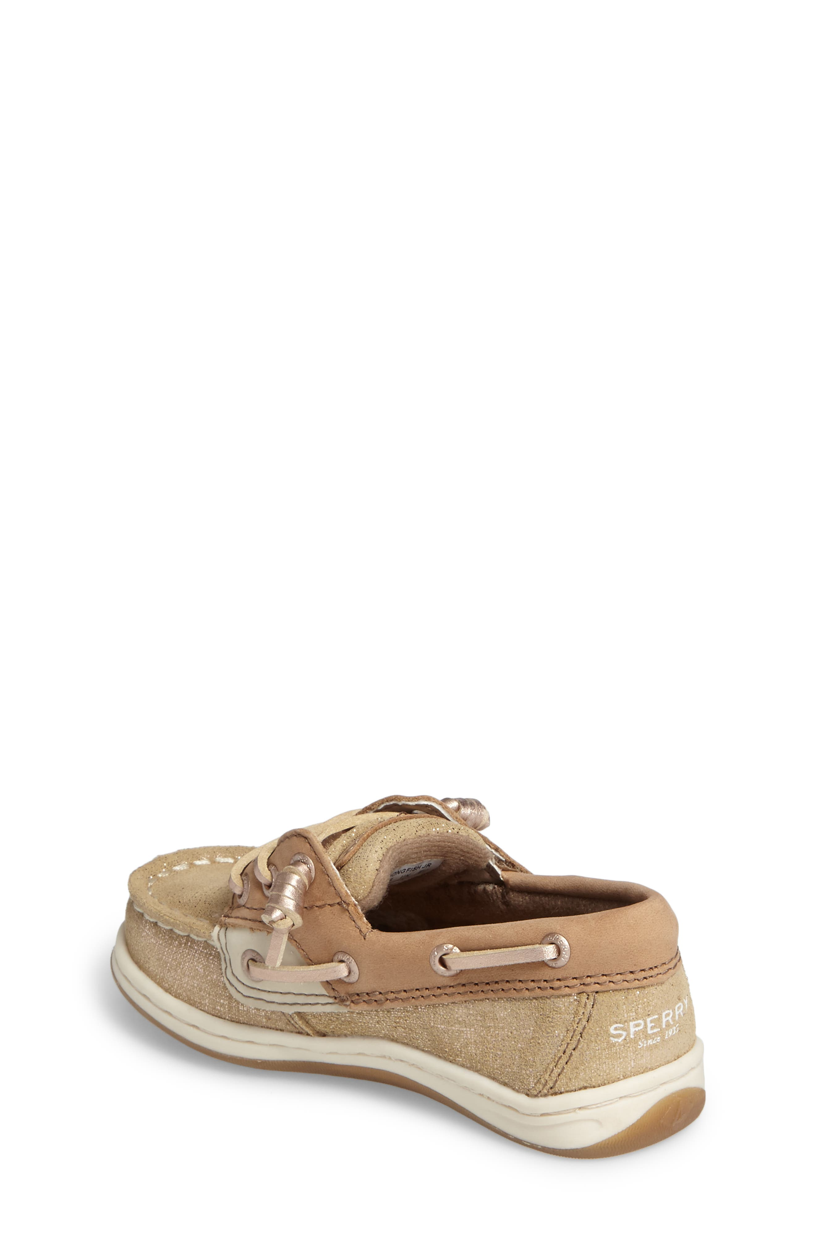 'Songfish Jr' Boat Shoe,                             Alternate thumbnail 2, color,                             Linen/ Gold