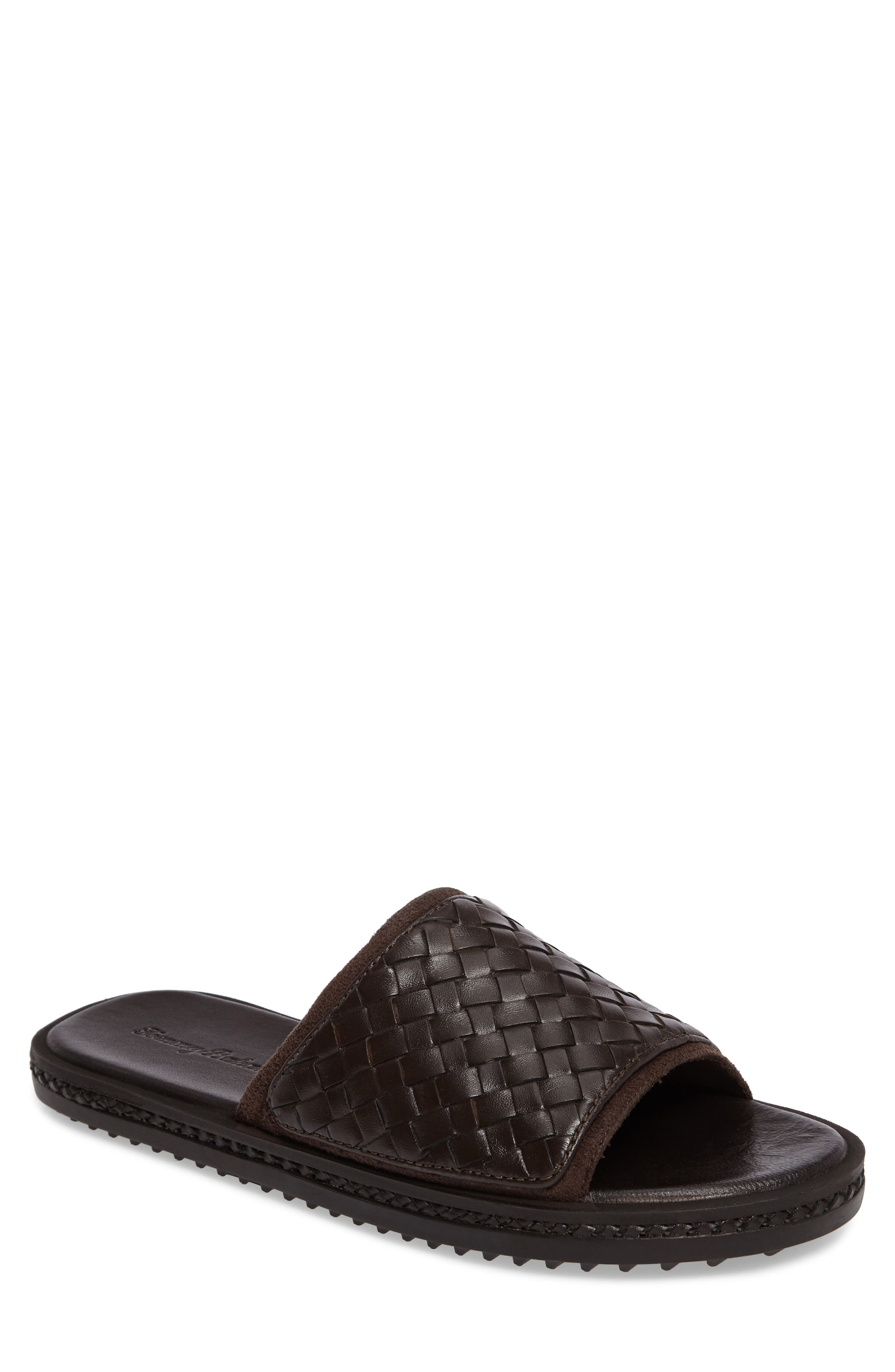 Shore Crest Woven Slide Sandal,                             Main thumbnail 1, color,                             Dark Brown