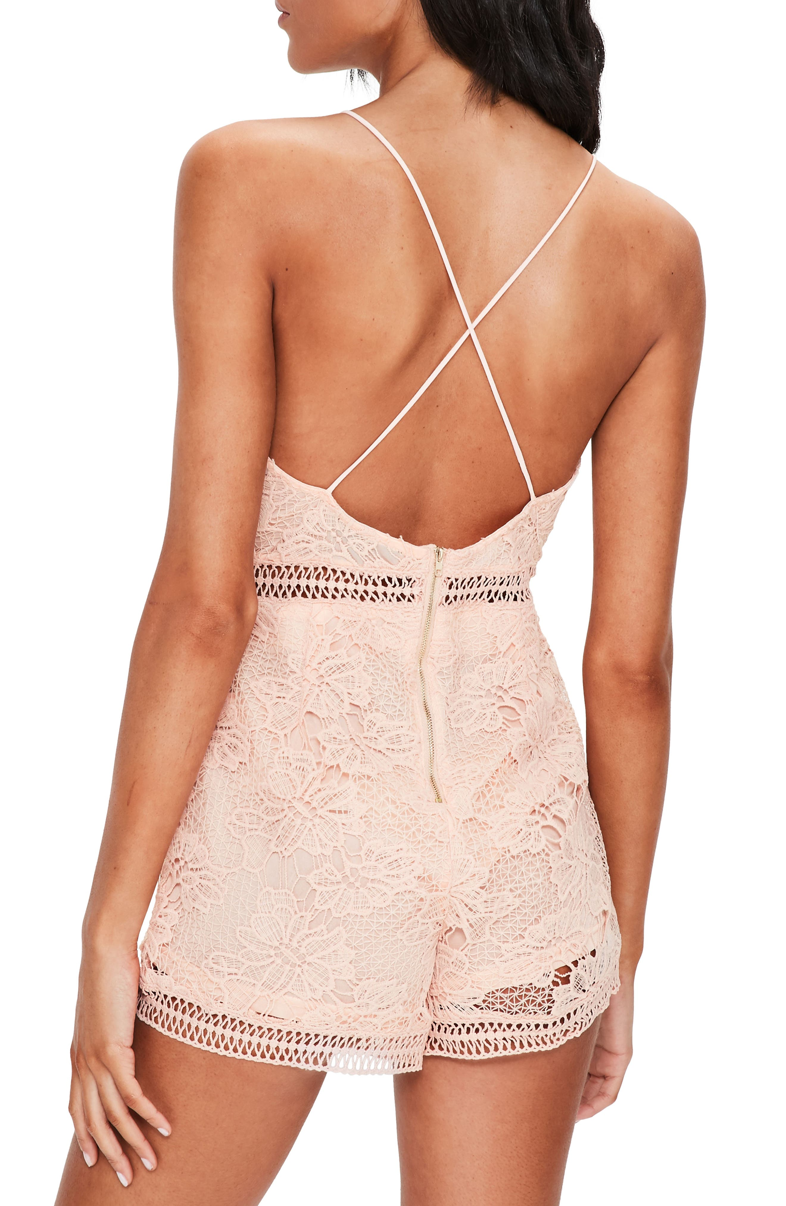 Lace Up Romper,                             Alternate thumbnail 2, color,                             Pink
