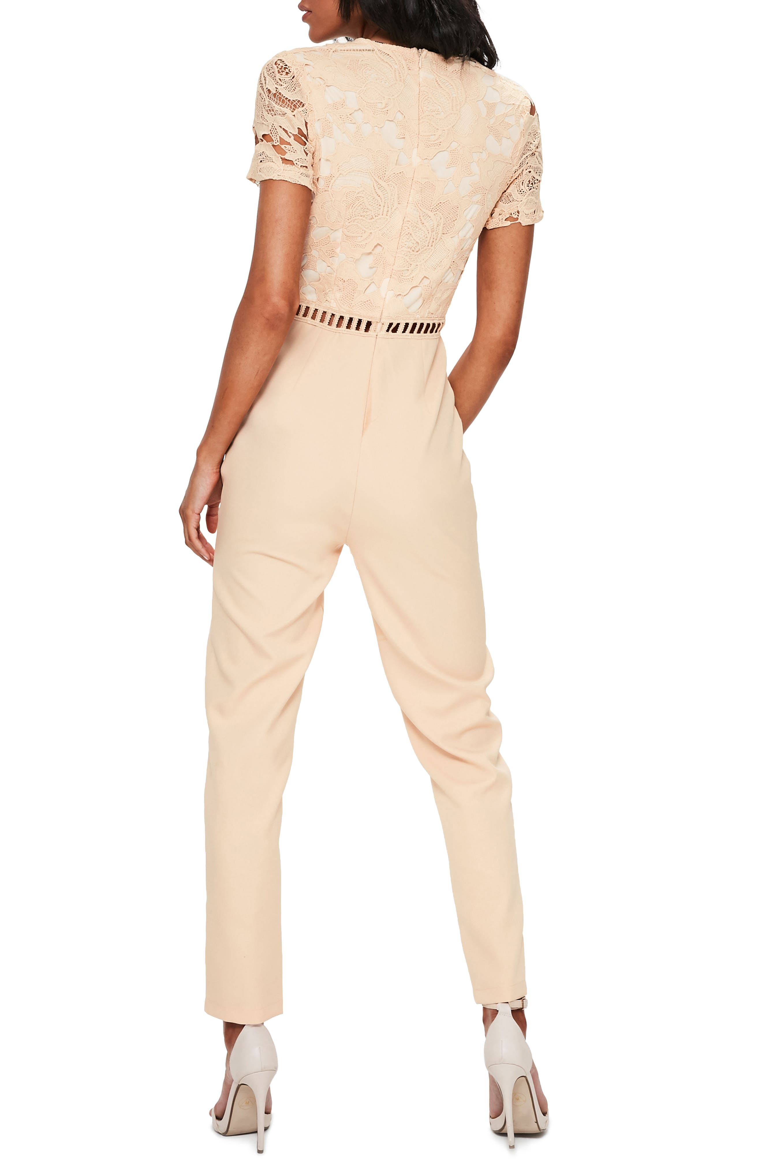 Lace Top Jumpsuit,                             Alternate thumbnail 2, color,                             Nude