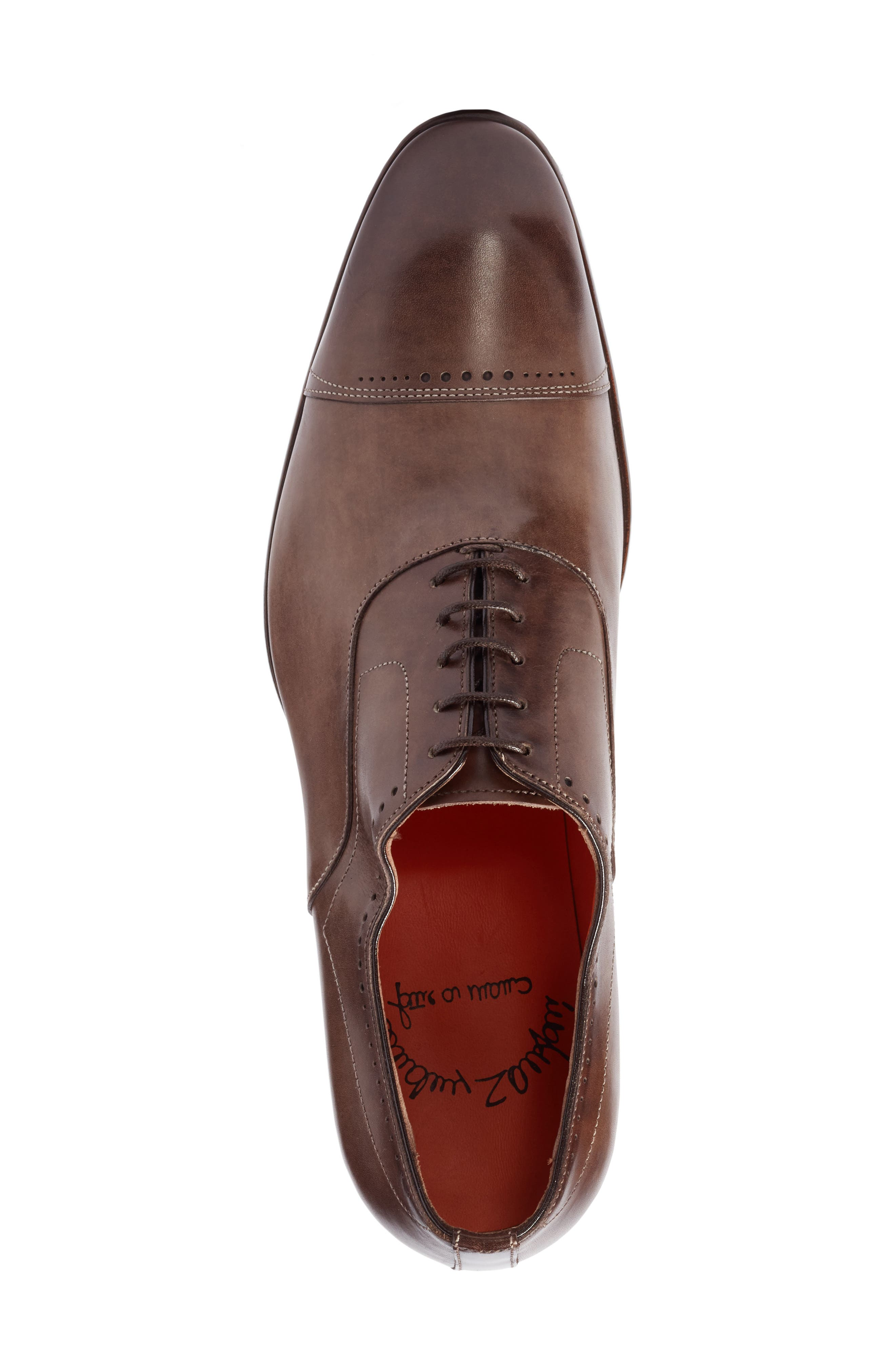 Thurman Cap Toe Oxford,                             Alternate thumbnail 5, color,                             Dark Brown Leather