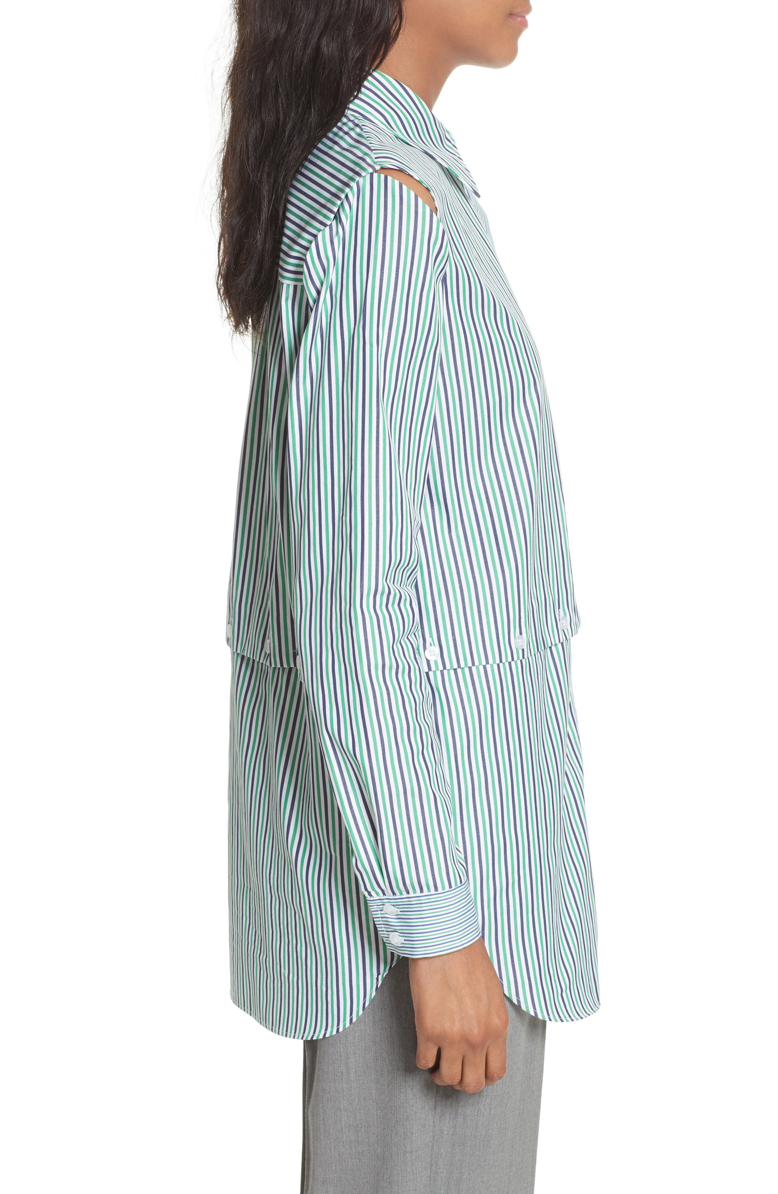 Fractured Stripe Shirt,                             Alternate thumbnail 4, color,                             Emerald
