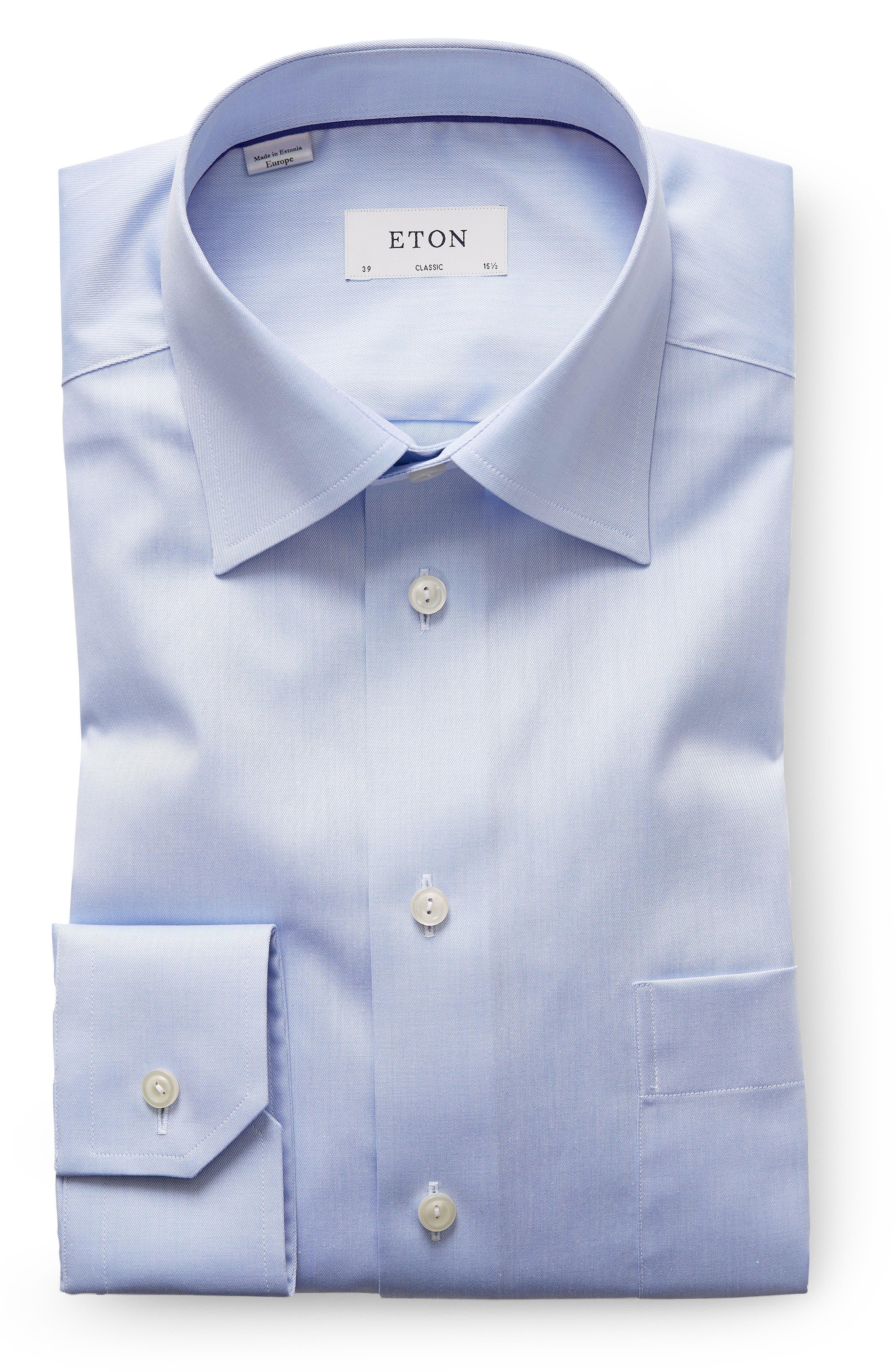 Classic Fit Twill Dress Shirt,                         Main,                         color, Blue