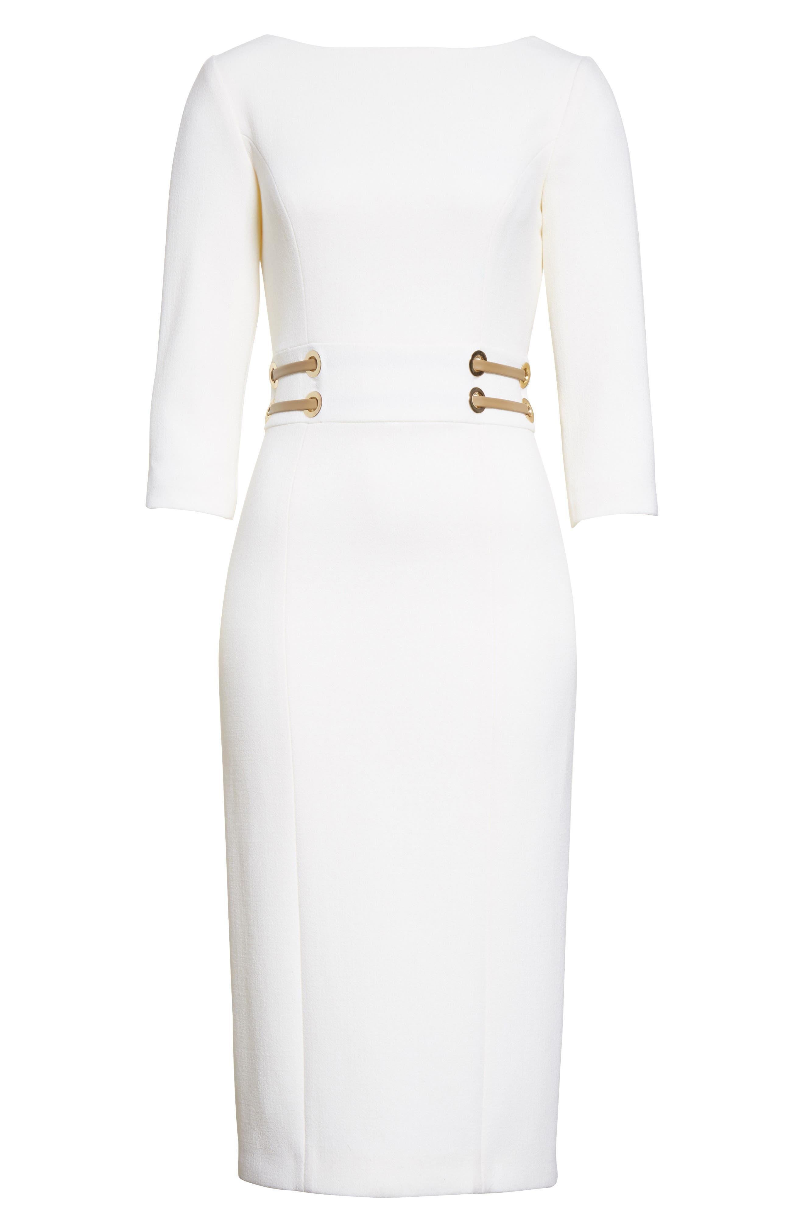 Alternate Image 6  - Michael Kors Leather Trim Stretch Bouclé Crepe Sheath Dress