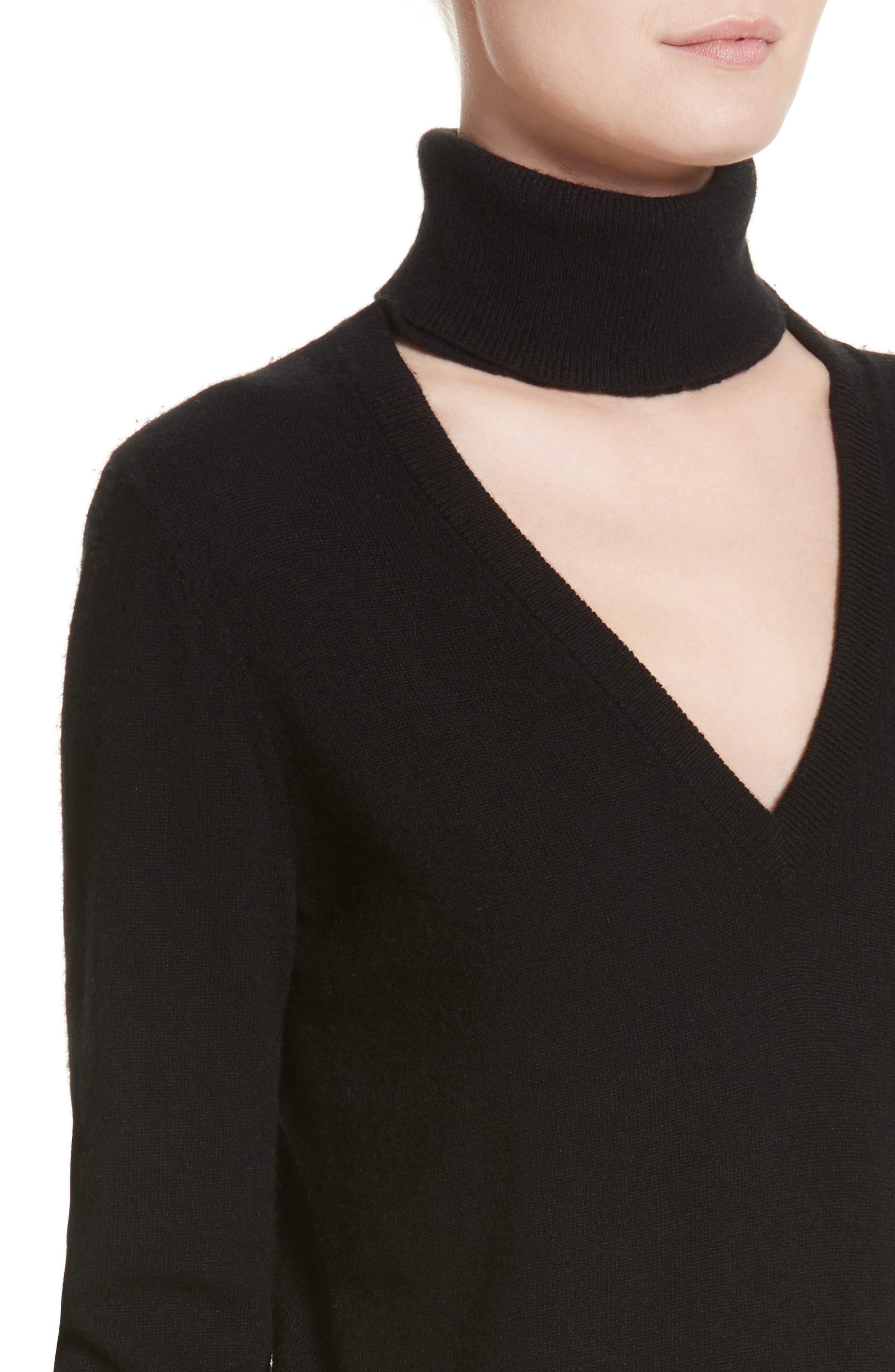 Cutout Turtleneck Cashmere Sweater,                             Alternate thumbnail 4, color,                             Black