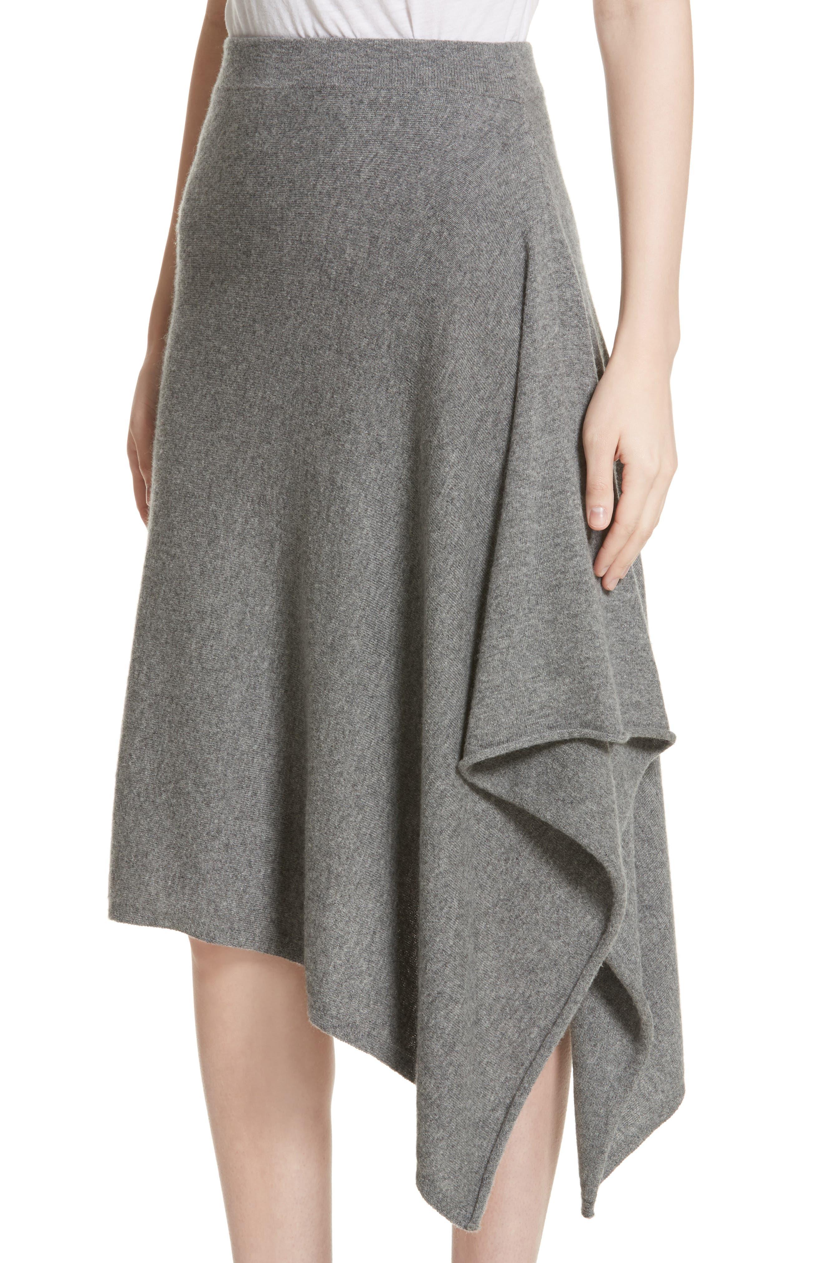 Cashmere Handkerchief Hem Skirt,                             Alternate thumbnail 5, color,                             Banker Mlange