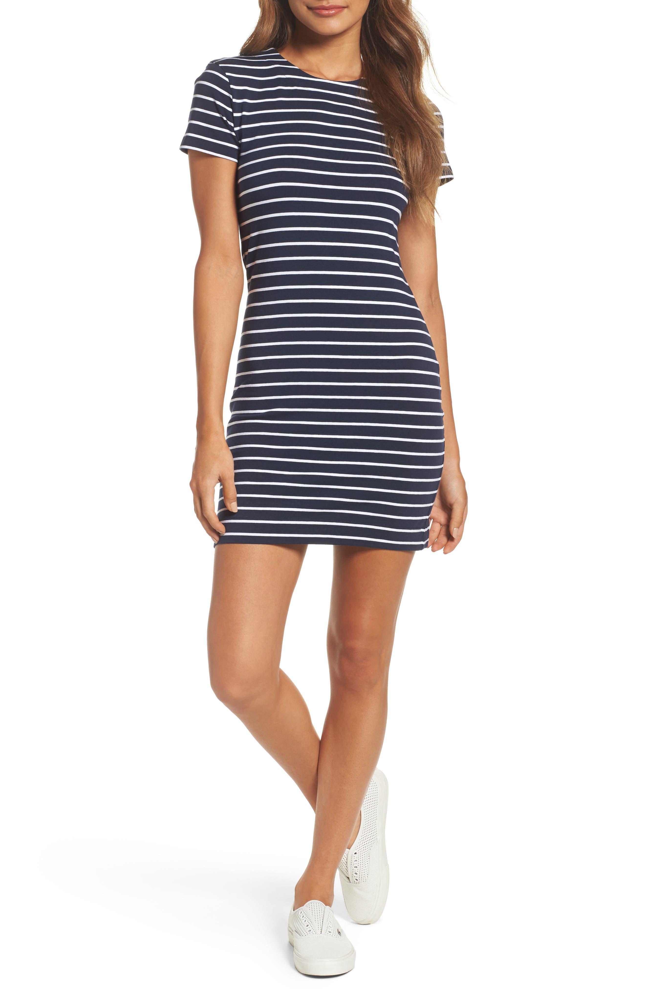 Stripe T-Shirt Dress,                         Main,                         color, Nocturnal/ White