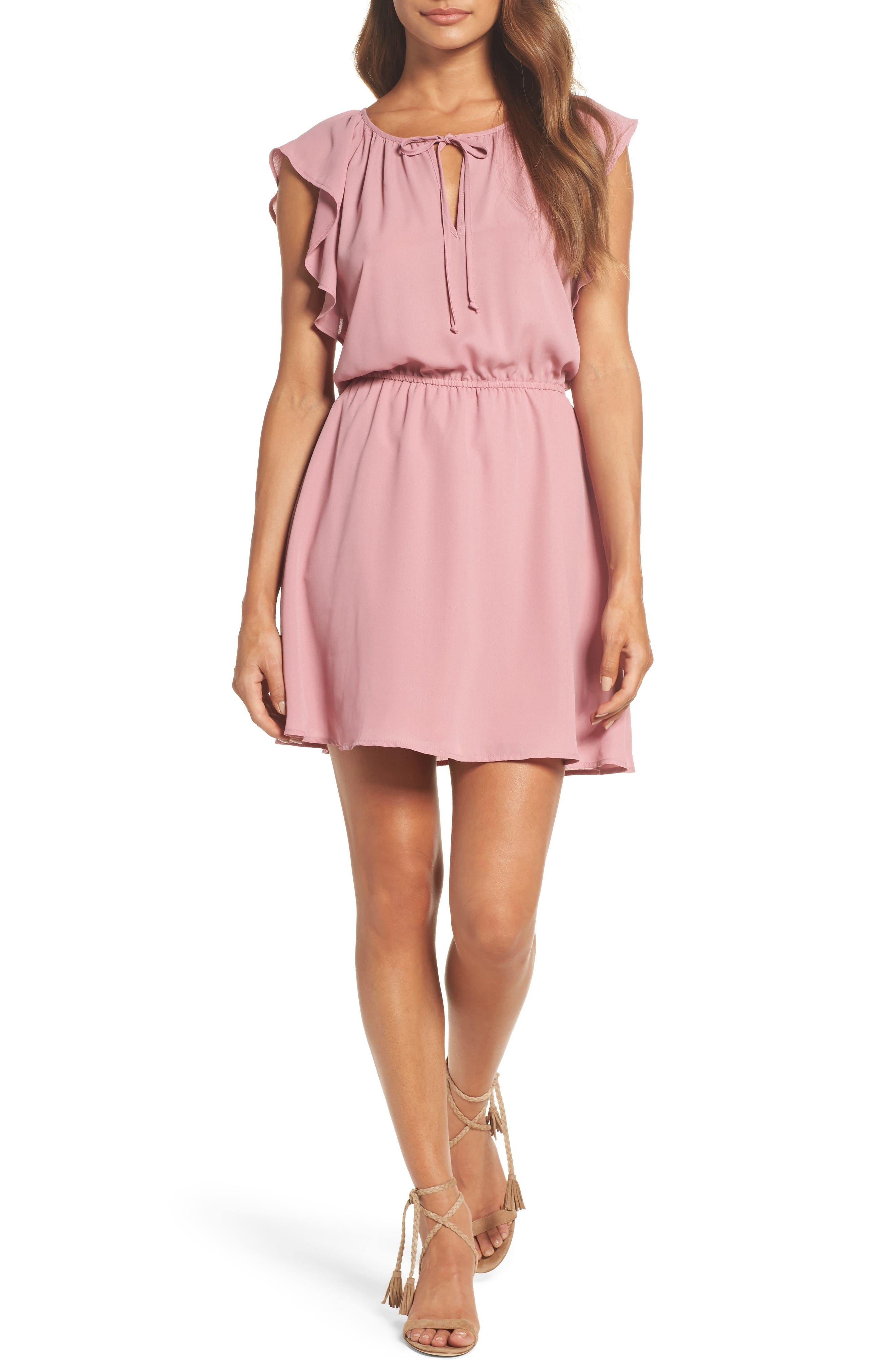 Adrienn Fit & Flare Dress,                             Main thumbnail 1, color,                             Dusty Rose