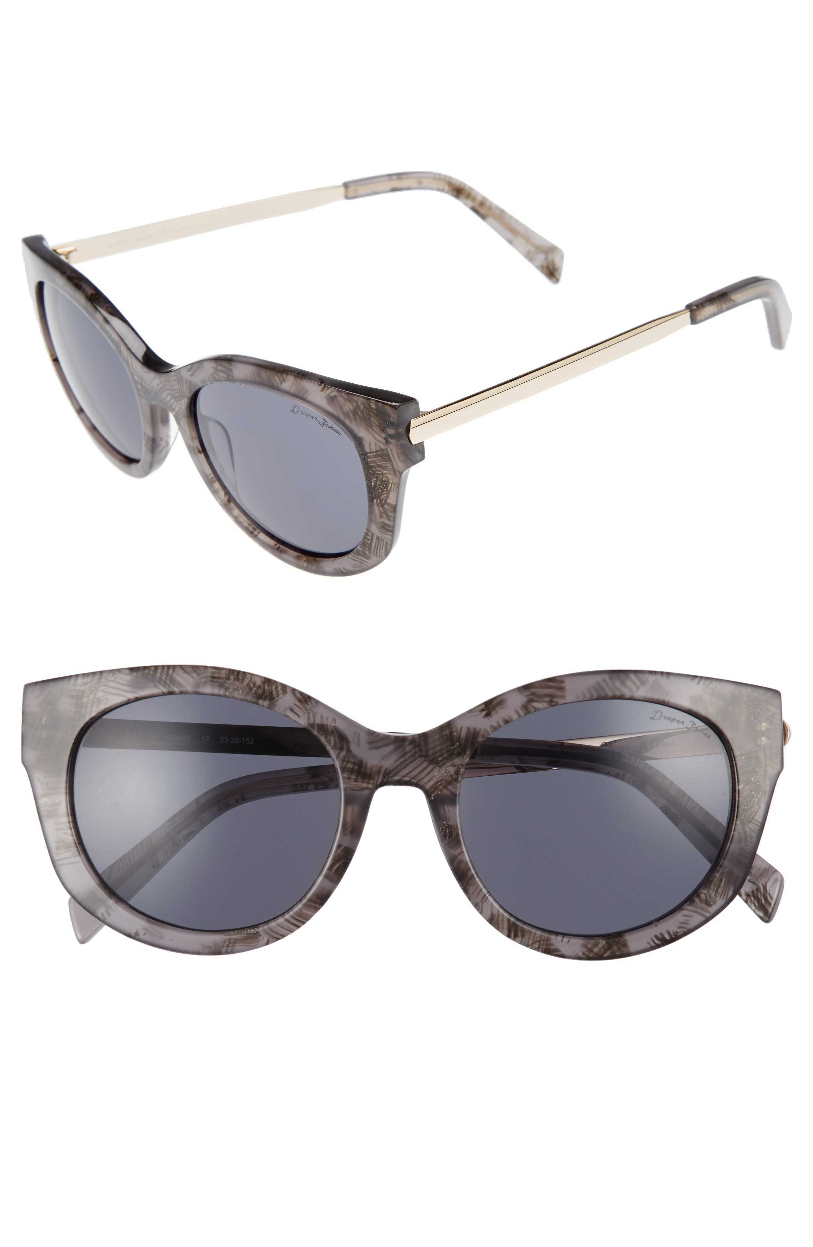 53mm Modified Cat Eye Sunglasses,                         Main,                         color, Grey