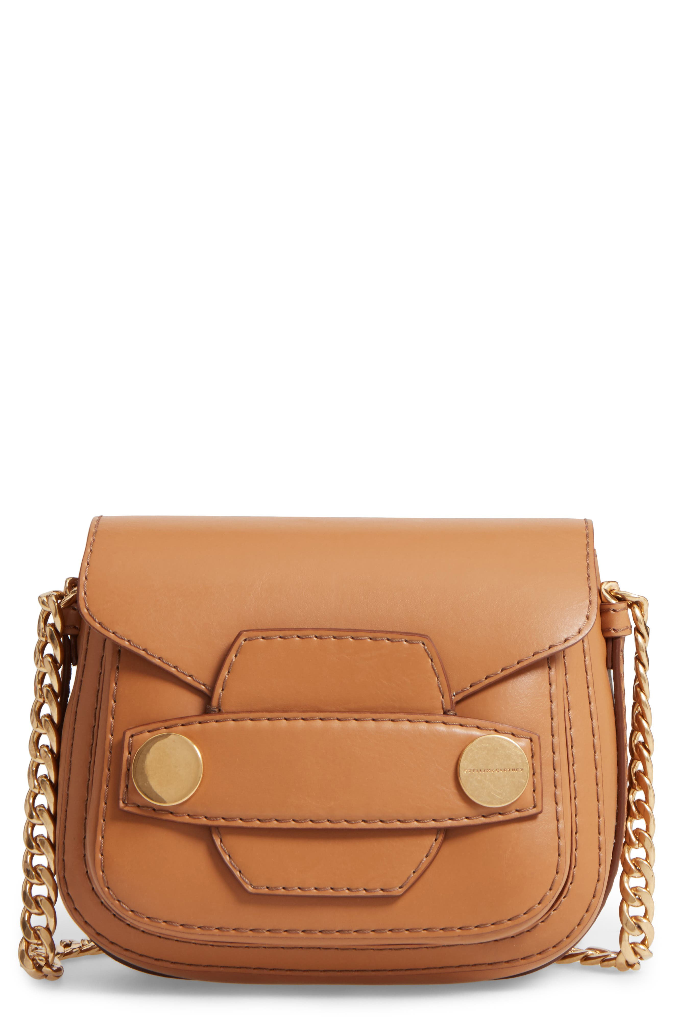 Textured Faux Leather Crossbody Bag,                         Main,                         color, Camel