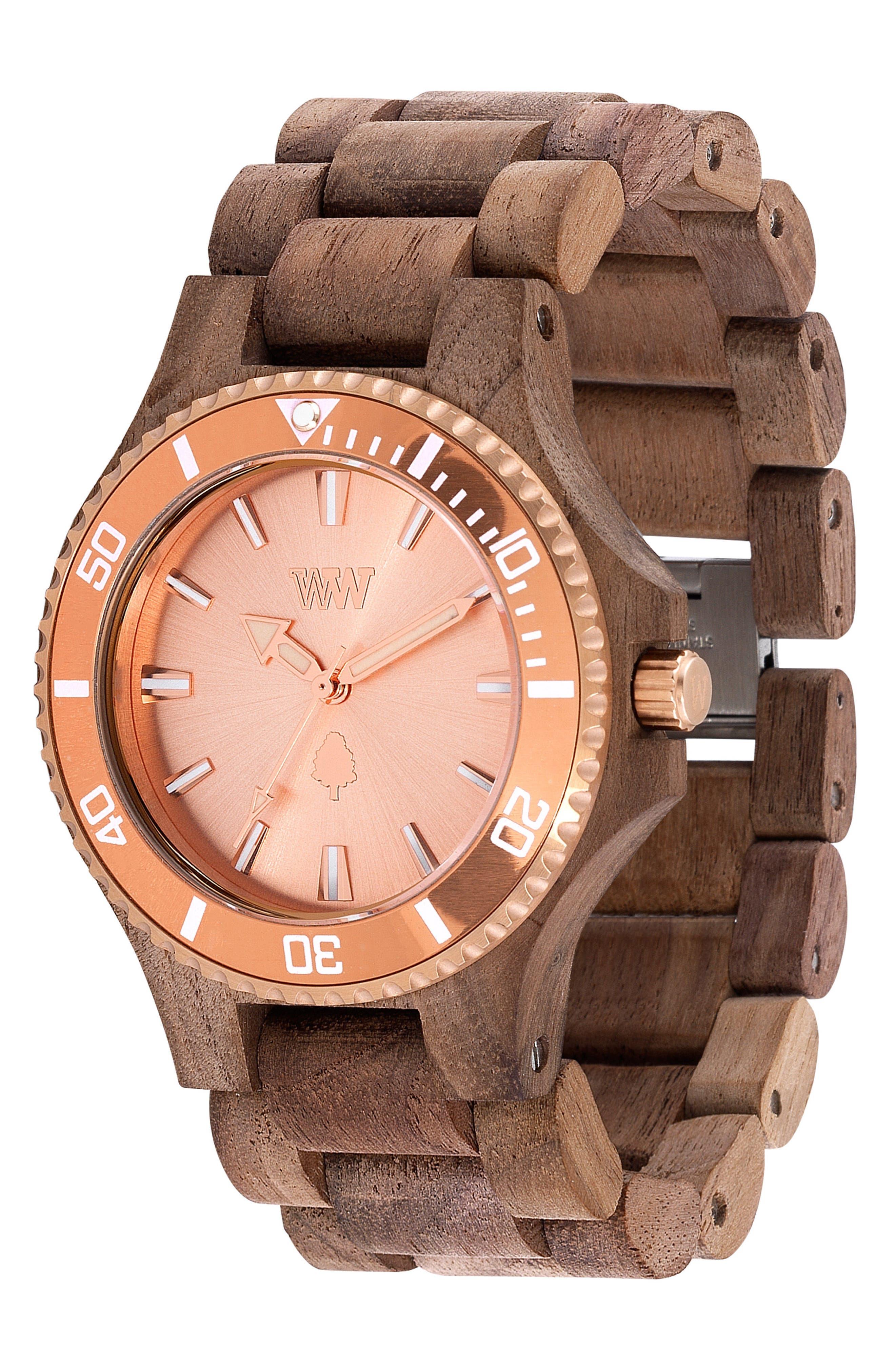 Date MB Wood Bracelet Watch, 42mm,                             Alternate thumbnail 3, color,                             Brown/ Rose Gold