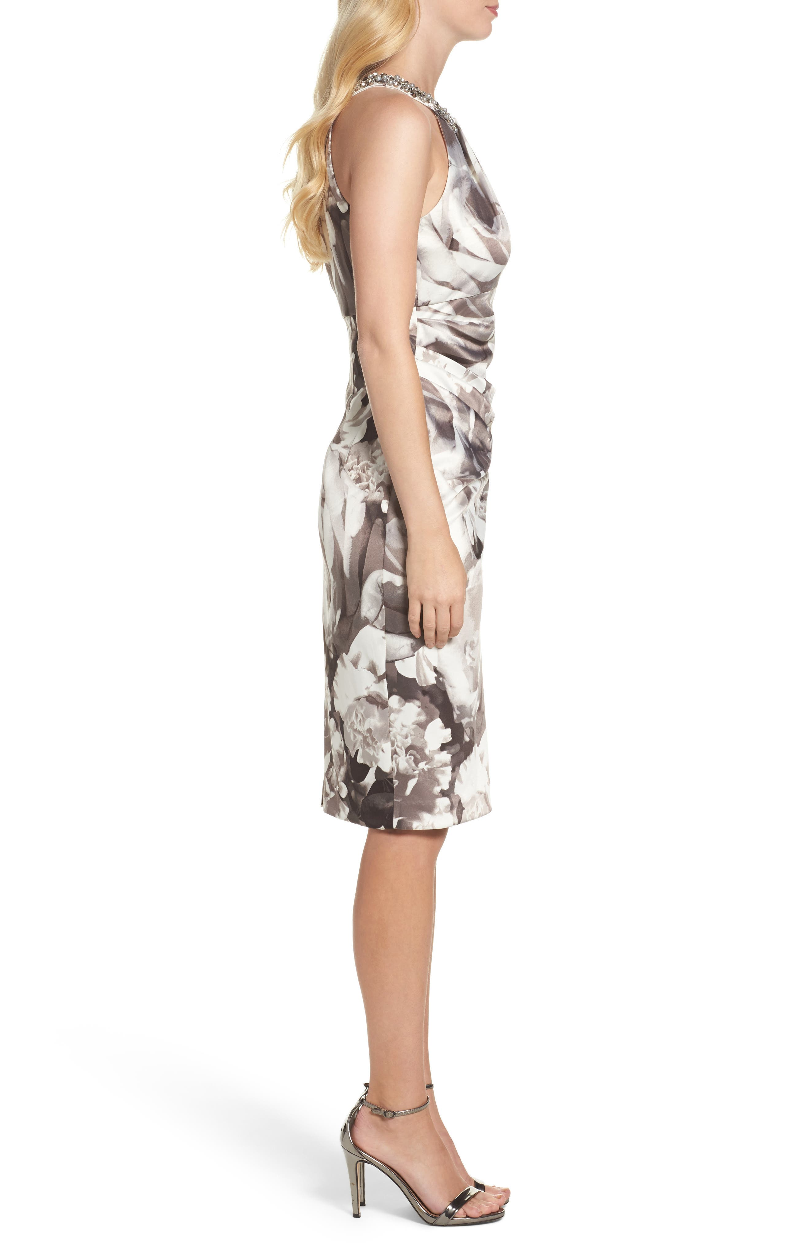 Embellished Print Sheath Dress,                             Alternate thumbnail 3, color,                             Black/ White