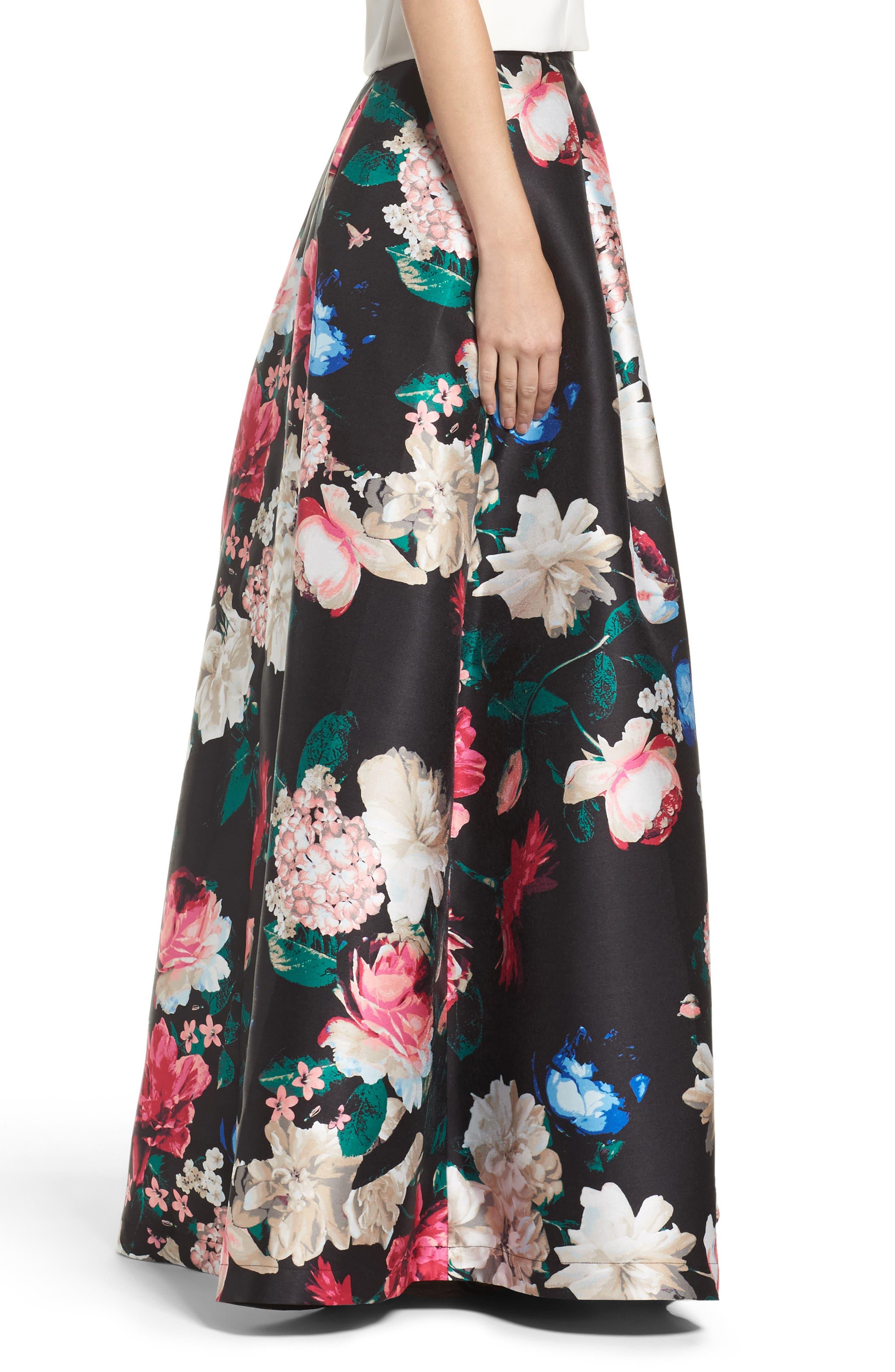 Faille Ball Skirt,                             Alternate thumbnail 3, color,                             Black/ Pink