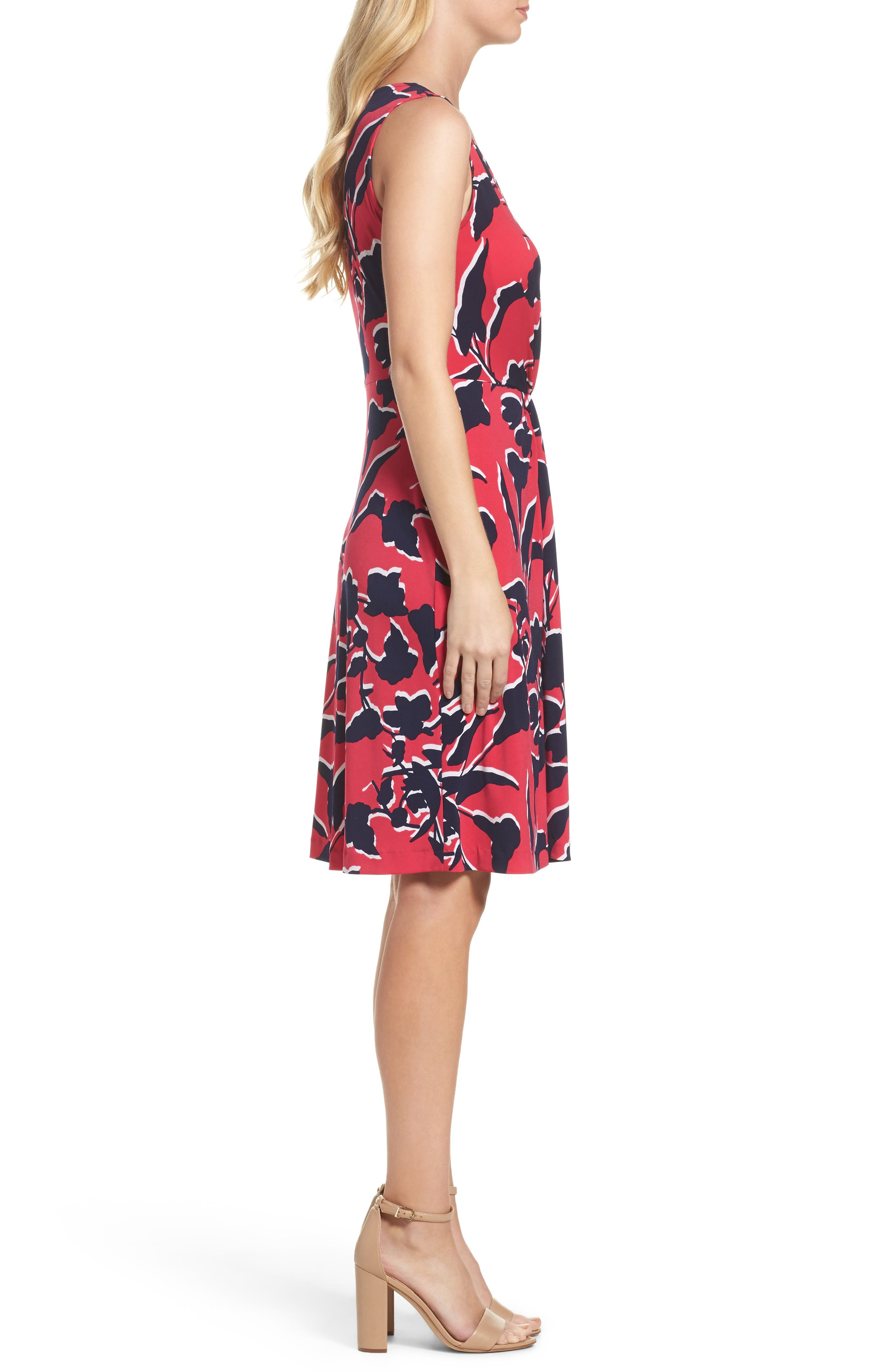 Twist Front Jersey Sheath Dress,                             Alternate thumbnail 3, color,                             Shadow Floral