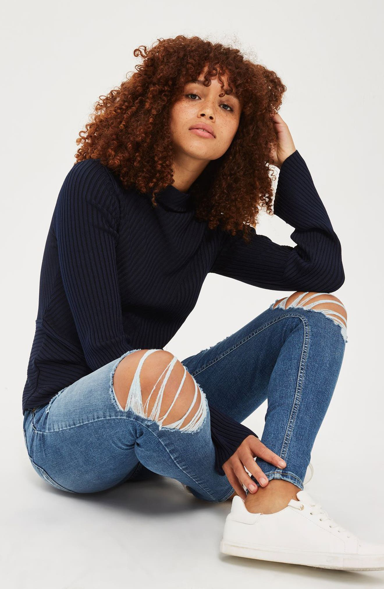Topshop Sweater & Jeans Outfit with Accessories