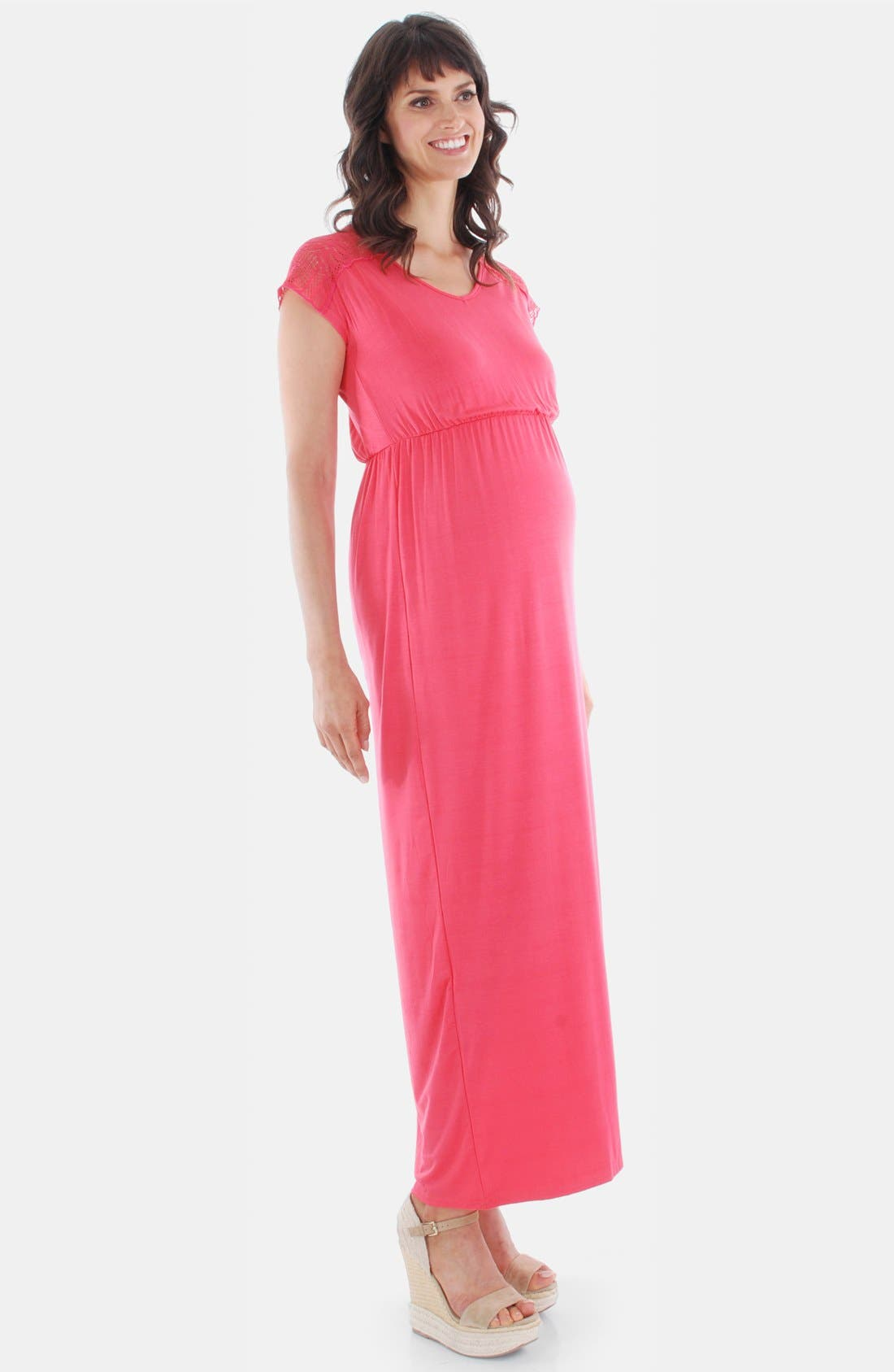 Main Image - Everly Grey Lace Yoke Maxi Maternity Dress