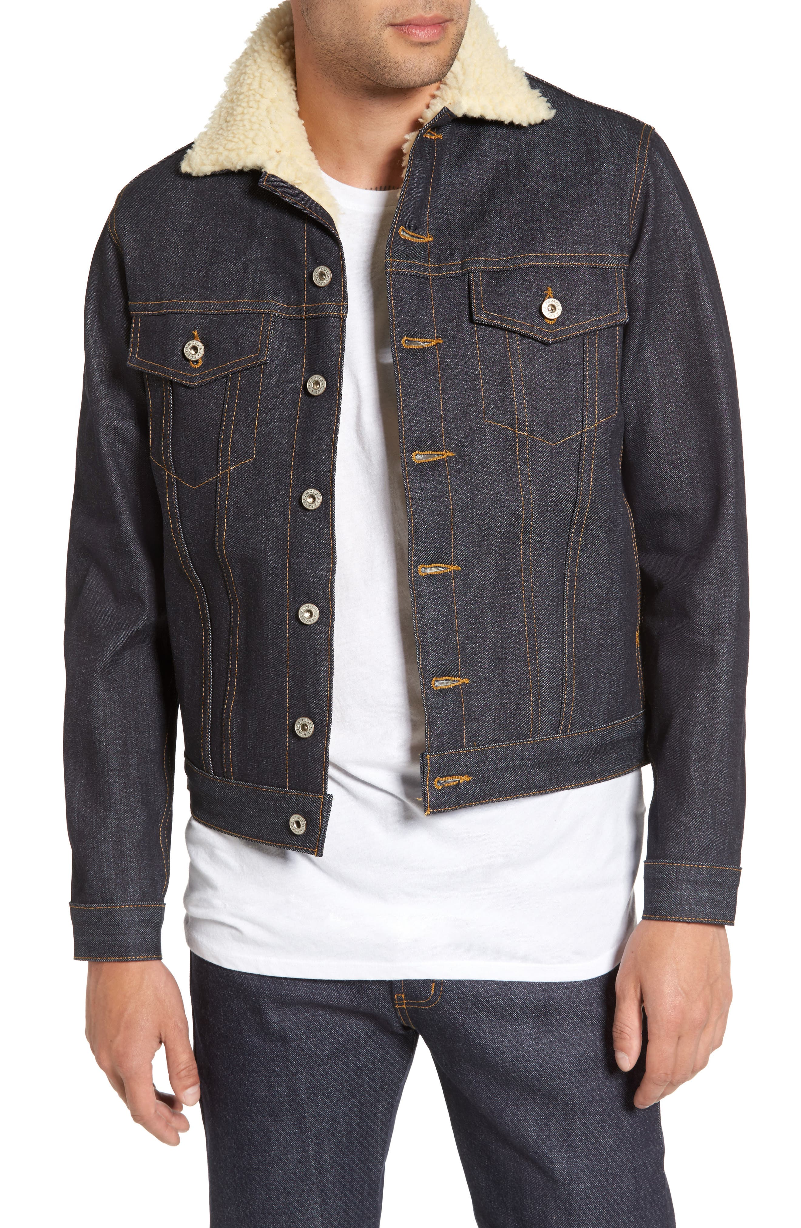 Faux Shearling Denim Jacket,                         Main,                         color, Indigo