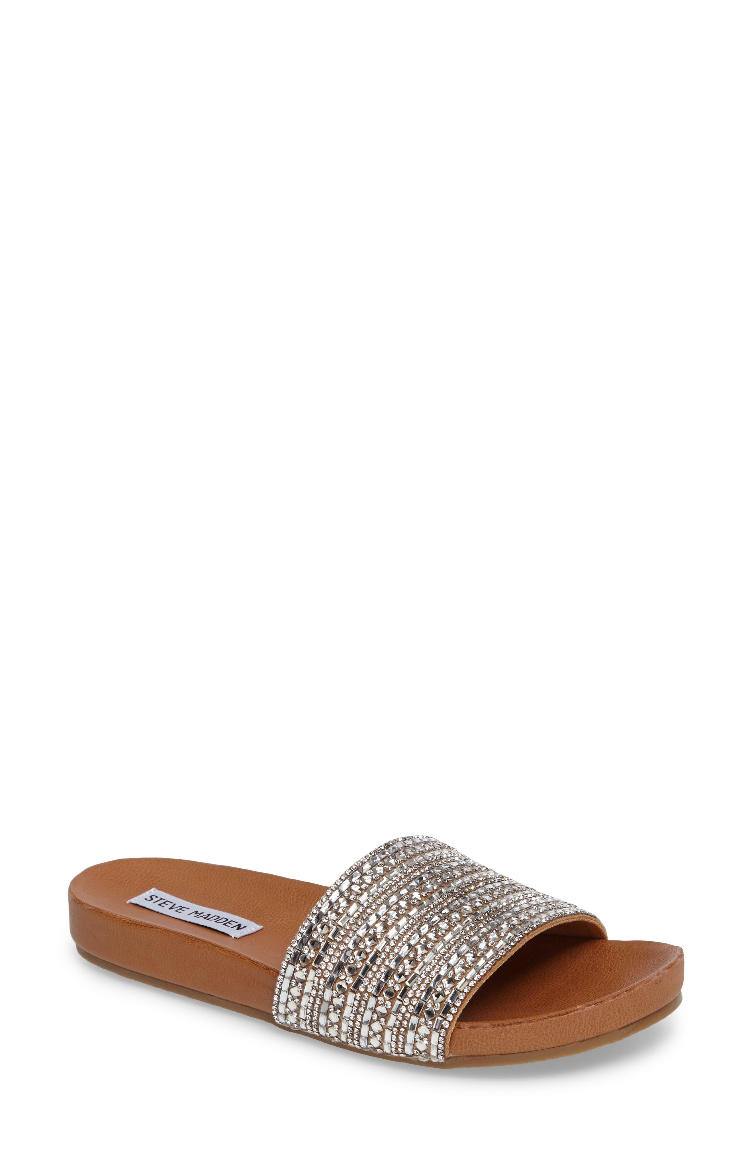 Dazzle Embellished Slide Sandal,                         Main,                         color, Rhinestone