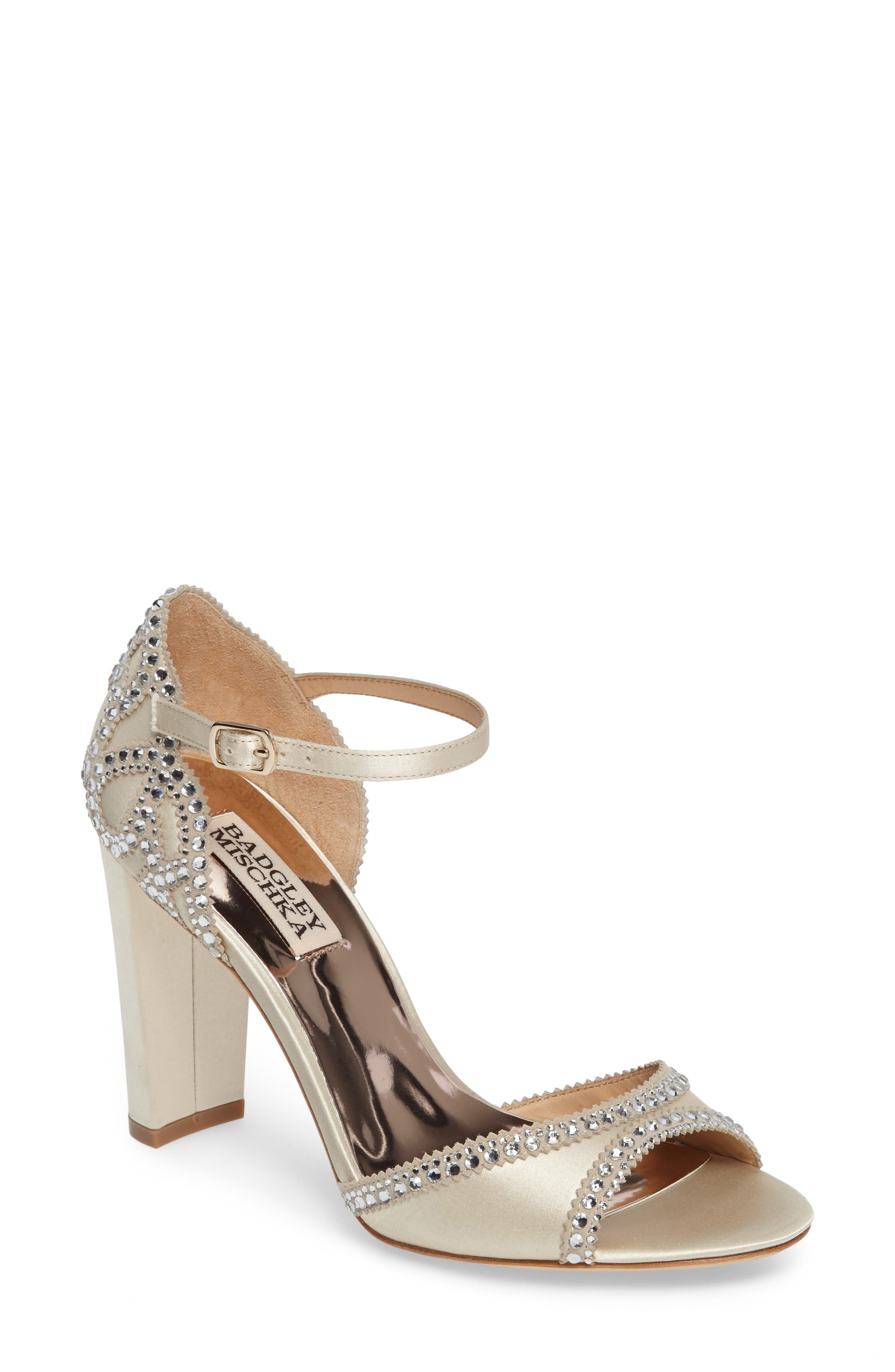 BADGLEY MISCHKA Kelly Embellished Crescent Heel Sandal