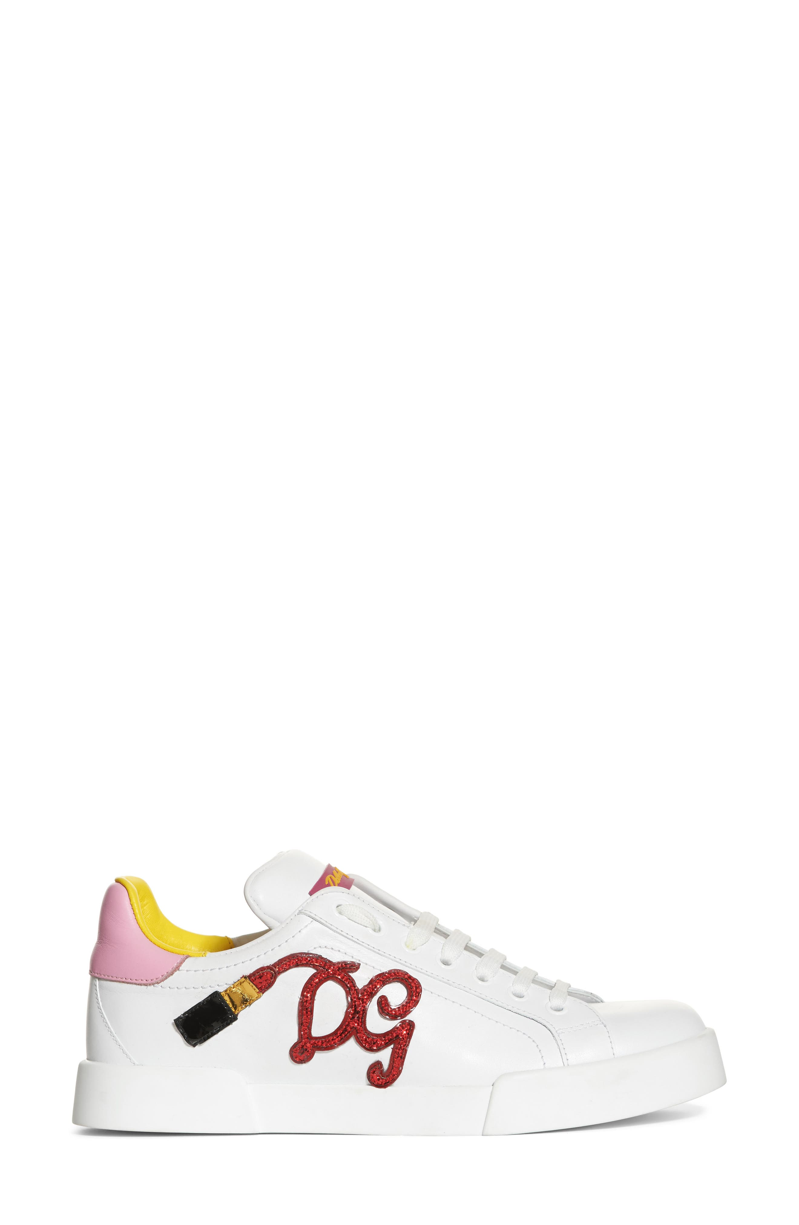 Lipstick Sneaker,                             Alternate thumbnail 3, color,                             White/ Pink