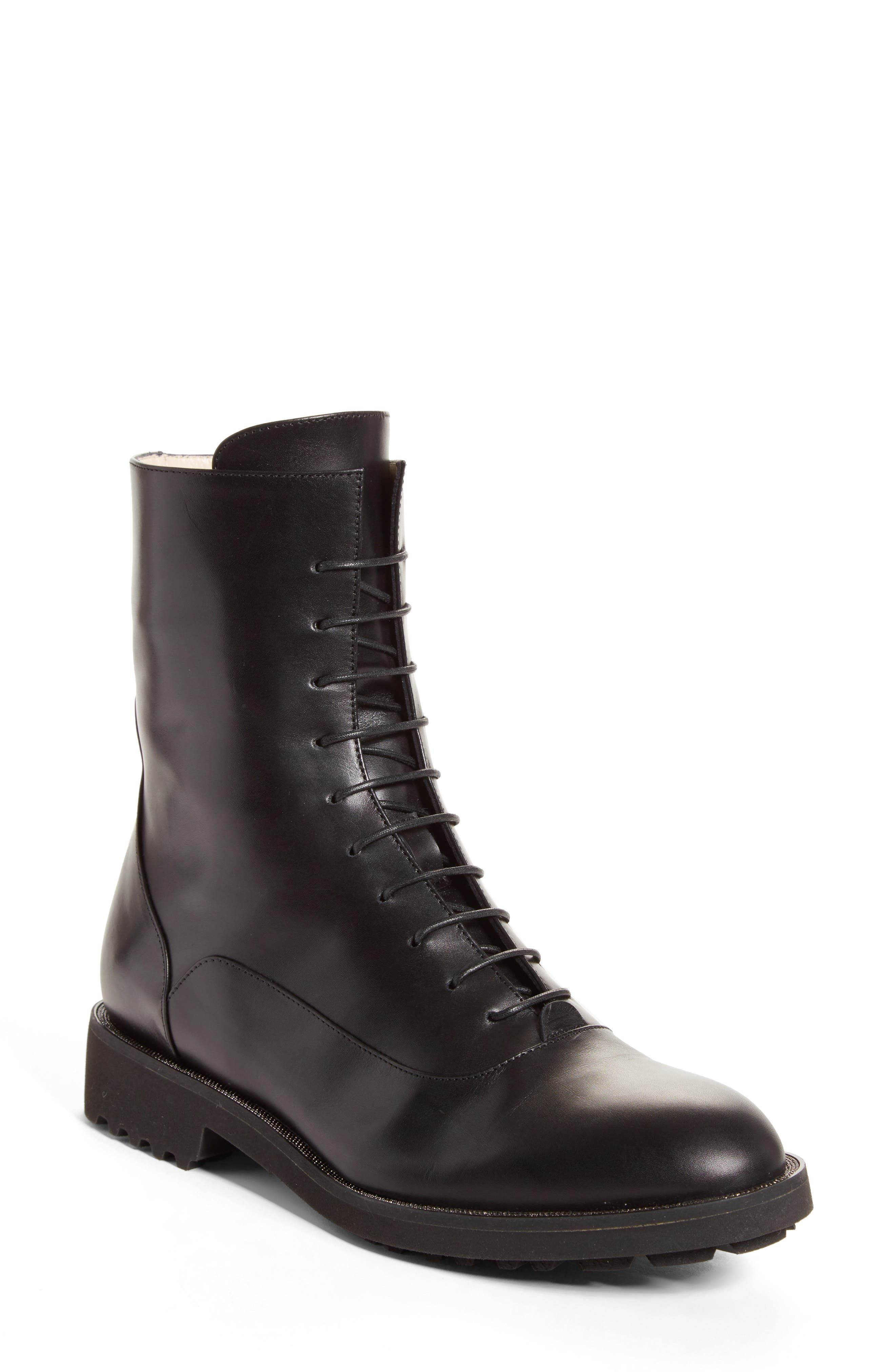 Ludovica Combat Boot,                         Main,                         color, Black