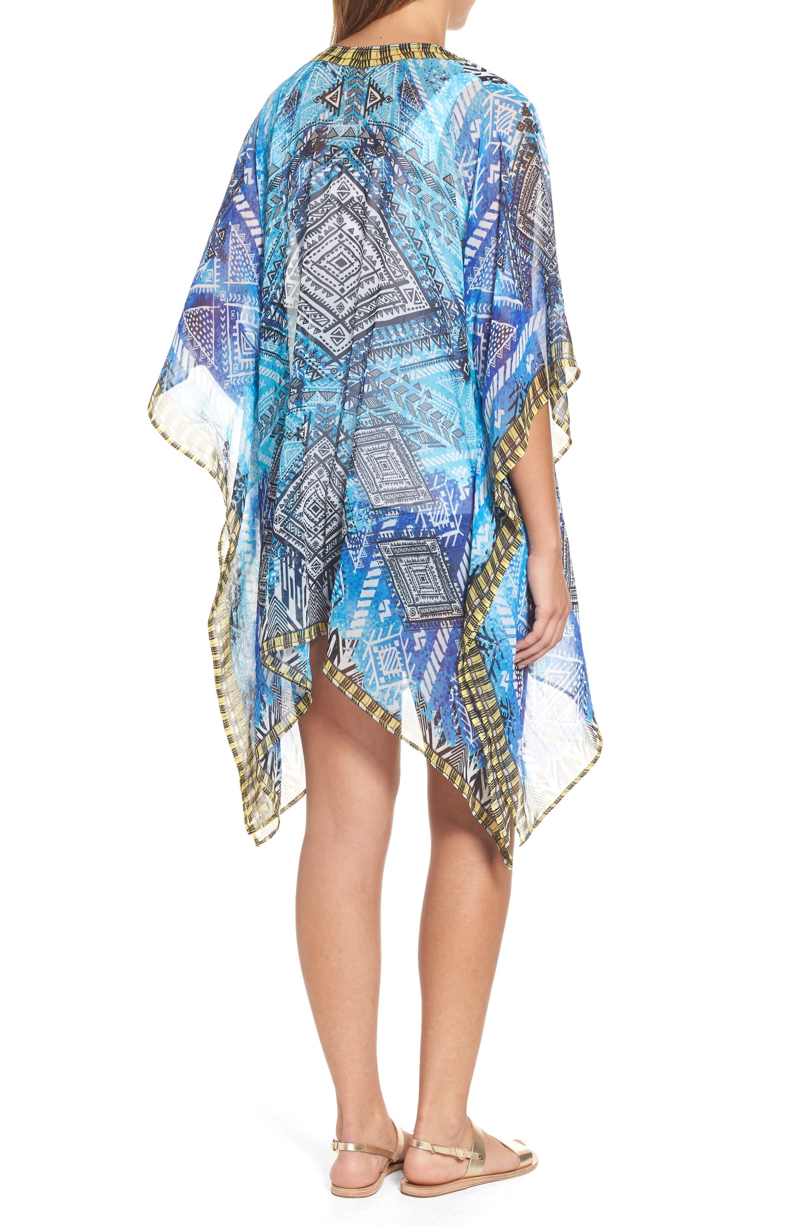 'Fiji' Short Kaftan,                             Alternate thumbnail 2, color,                             Blue Multi