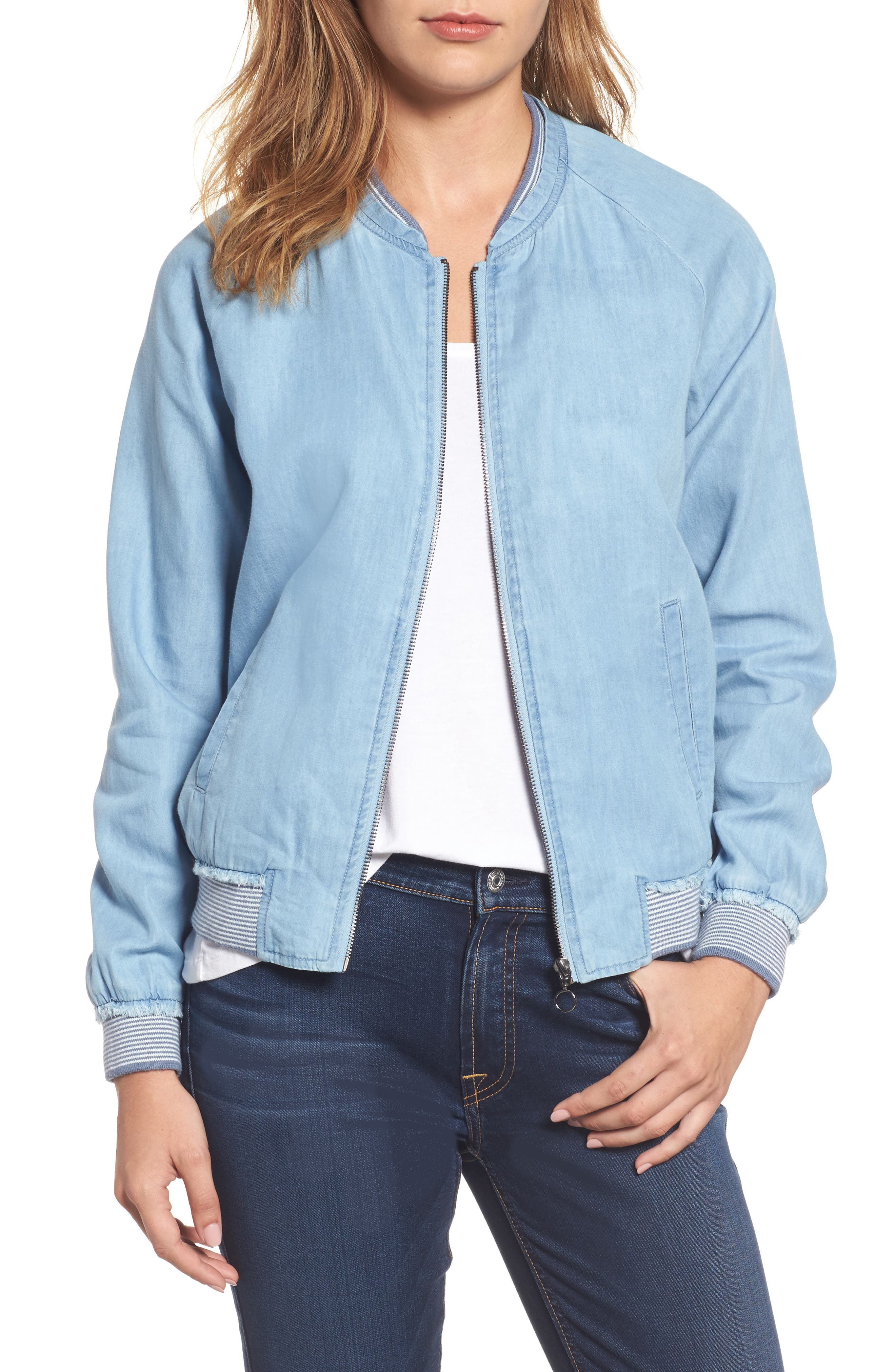 Wit & Wisdom Chambray Bomber Jacket (Nordstrom Exclusive)