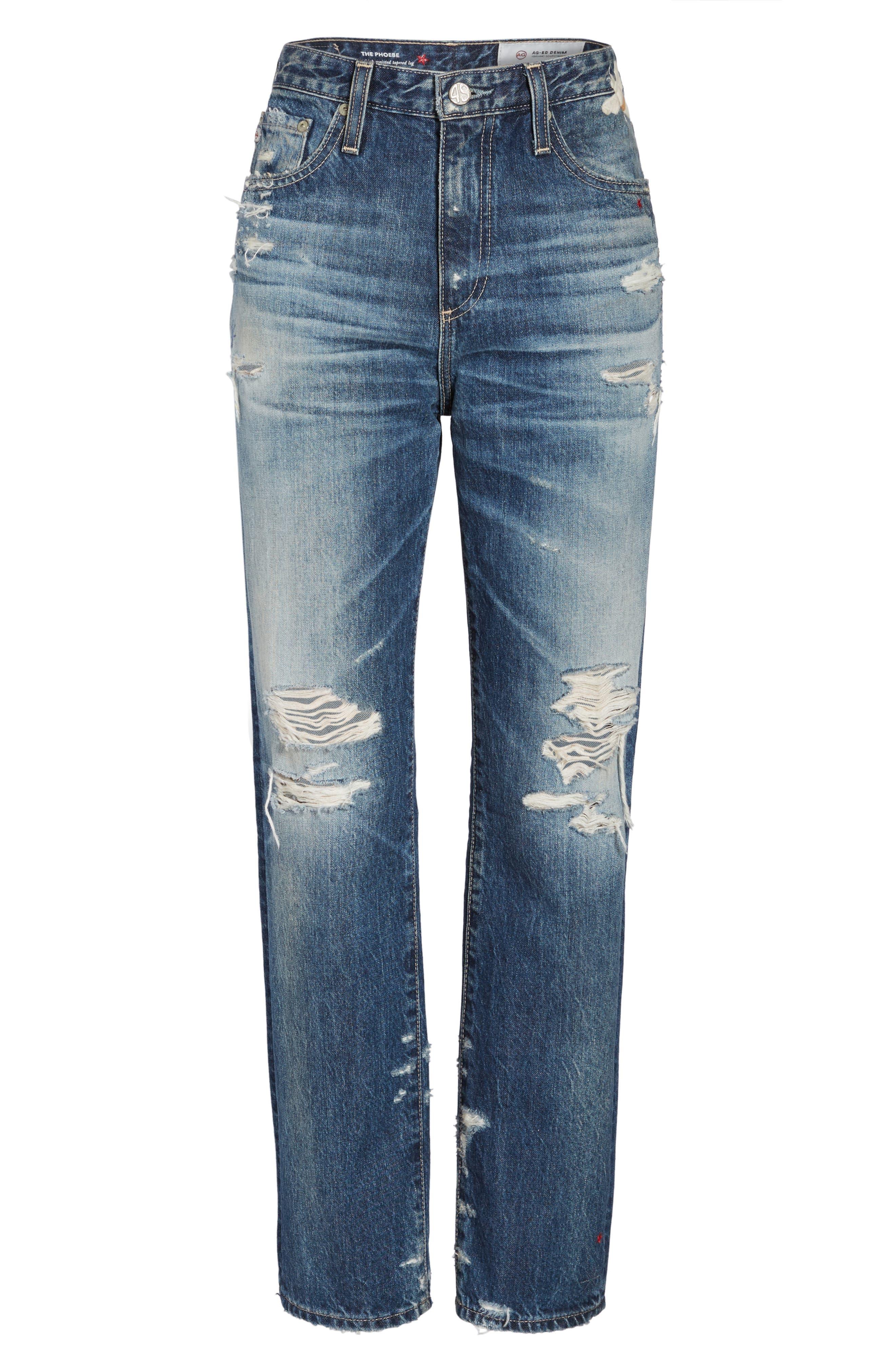 The Phoebe High Waist Straight Leg Jeans,                             Alternate thumbnail 6, color,                             23 Years Woven Dream