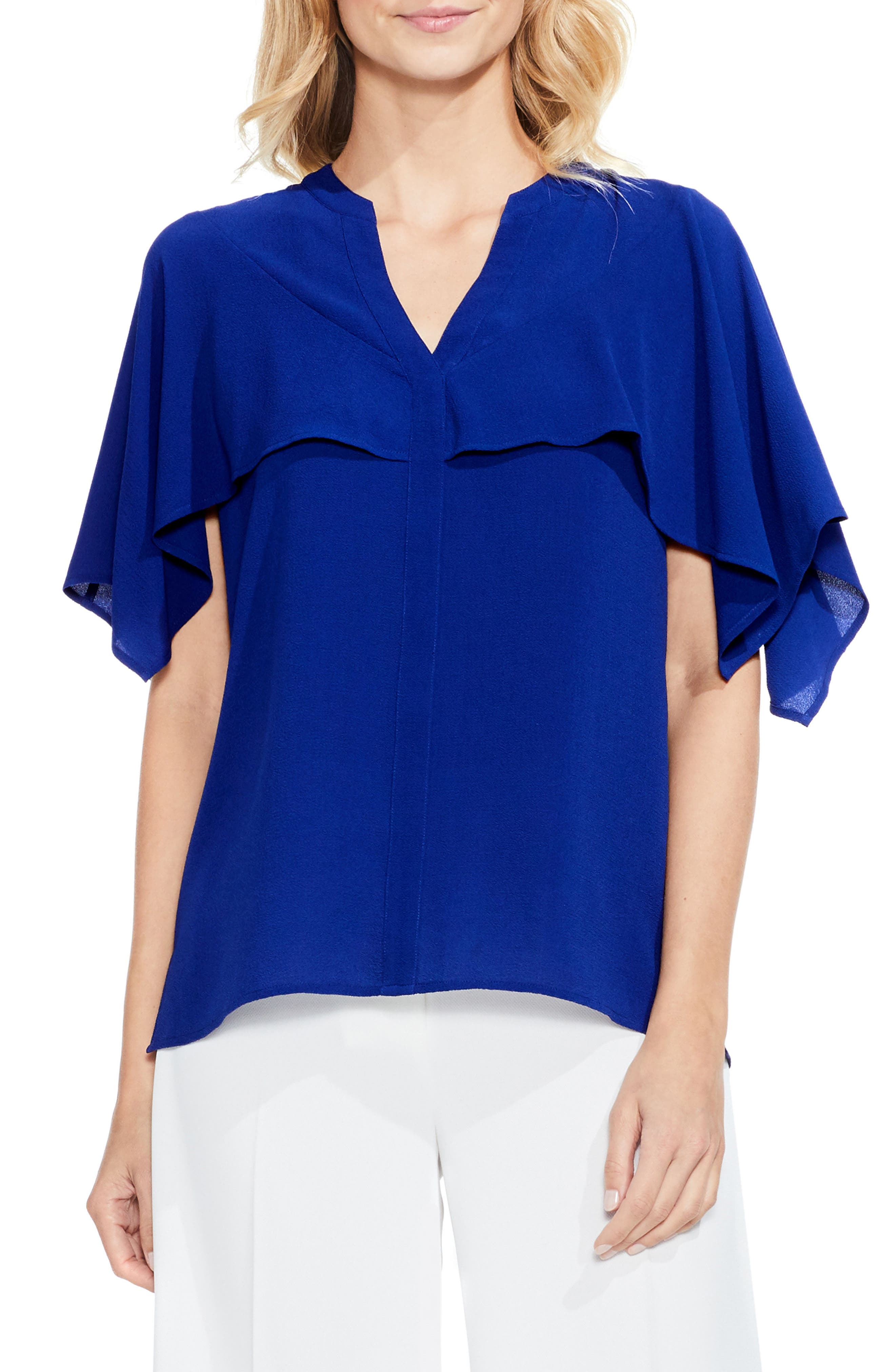 VINCE CAMUTO Capelet Overlay Blouse