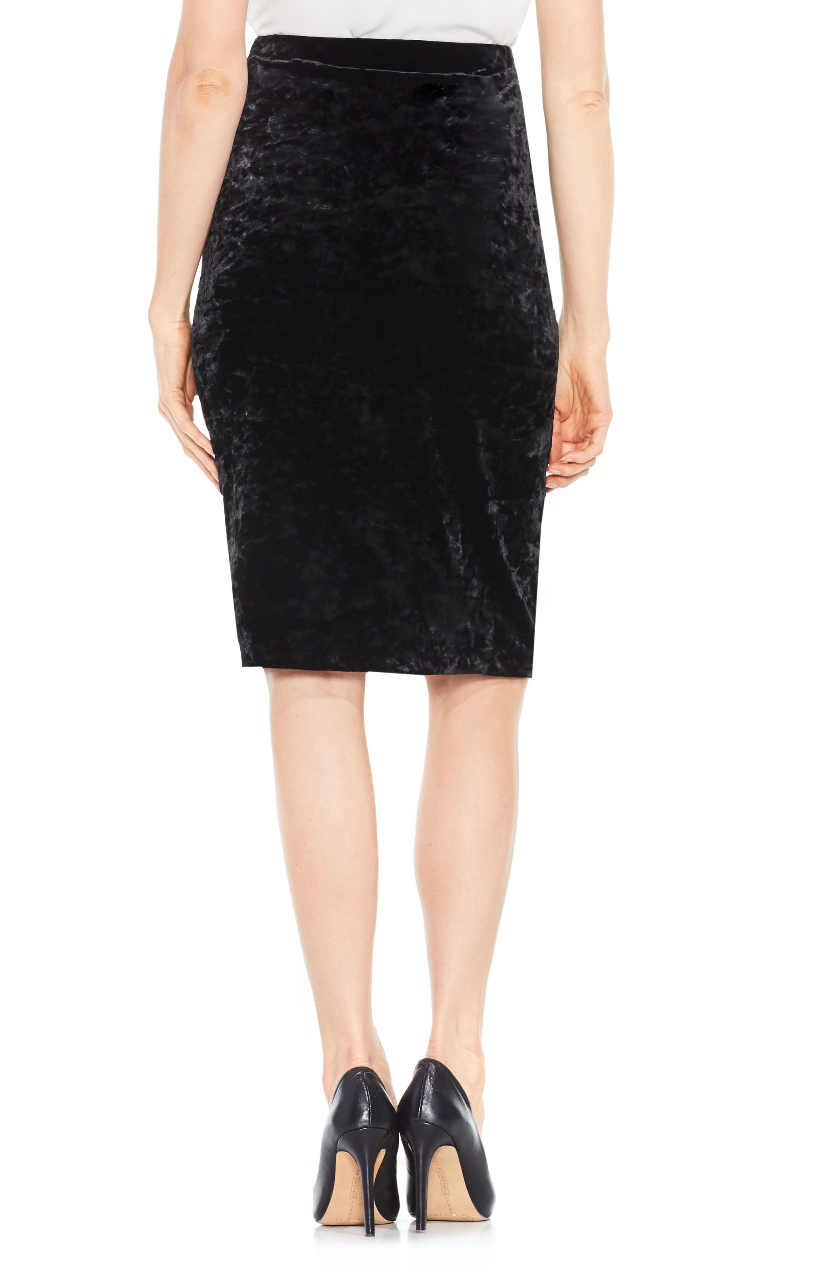 Velvet Pencil Skirt,                             Alternate thumbnail 3, color,                             Rich Black