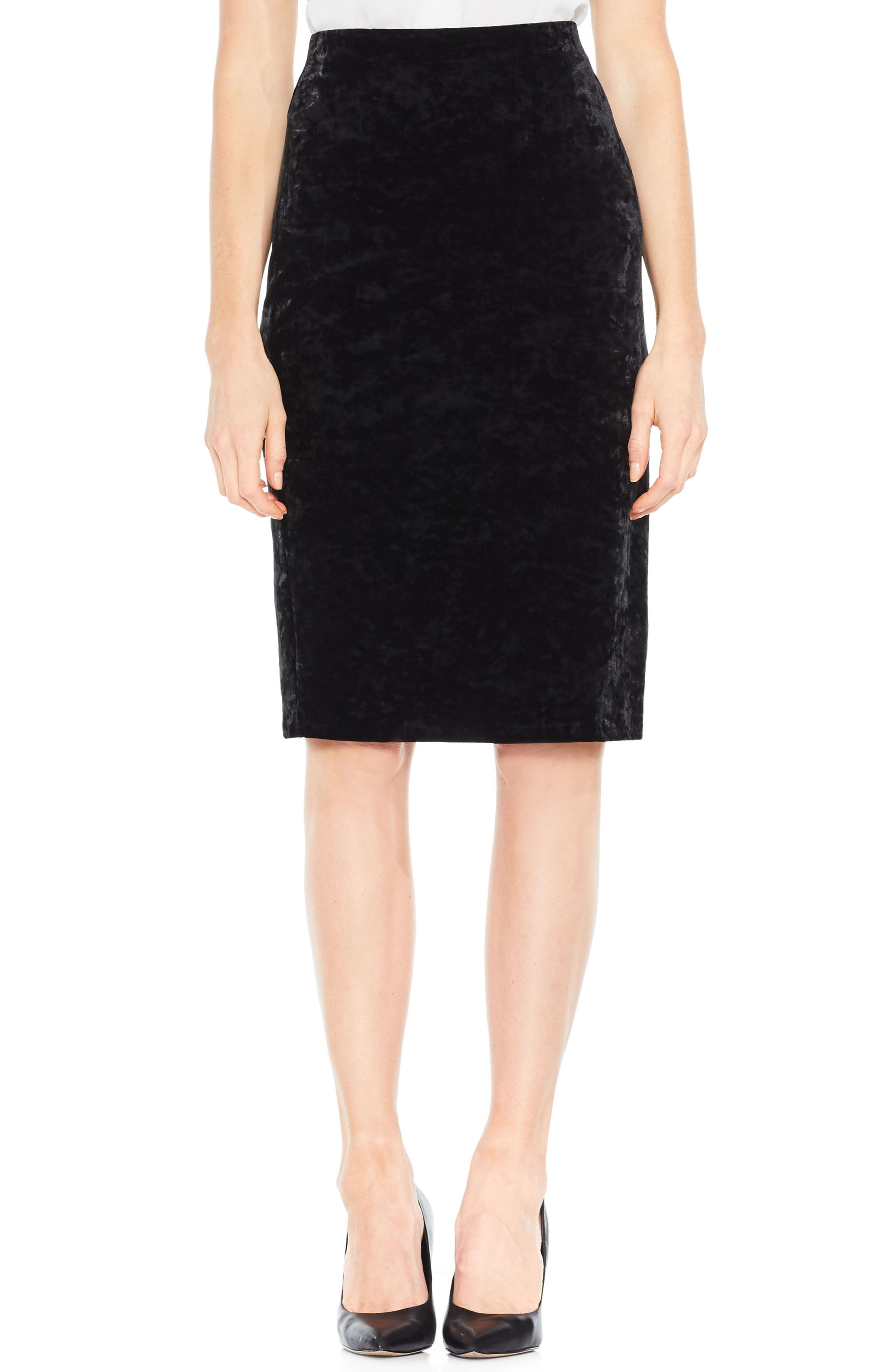 Velvet Pencil Skirt,                             Main thumbnail 1, color,                             Rich Black