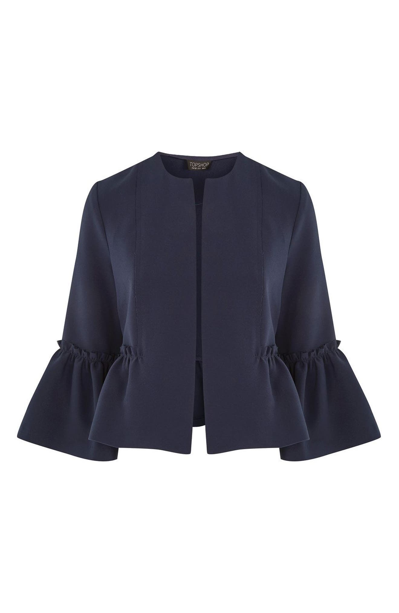 Alternate Image 4  - Topshop Raw Ruffle Crop Jacket