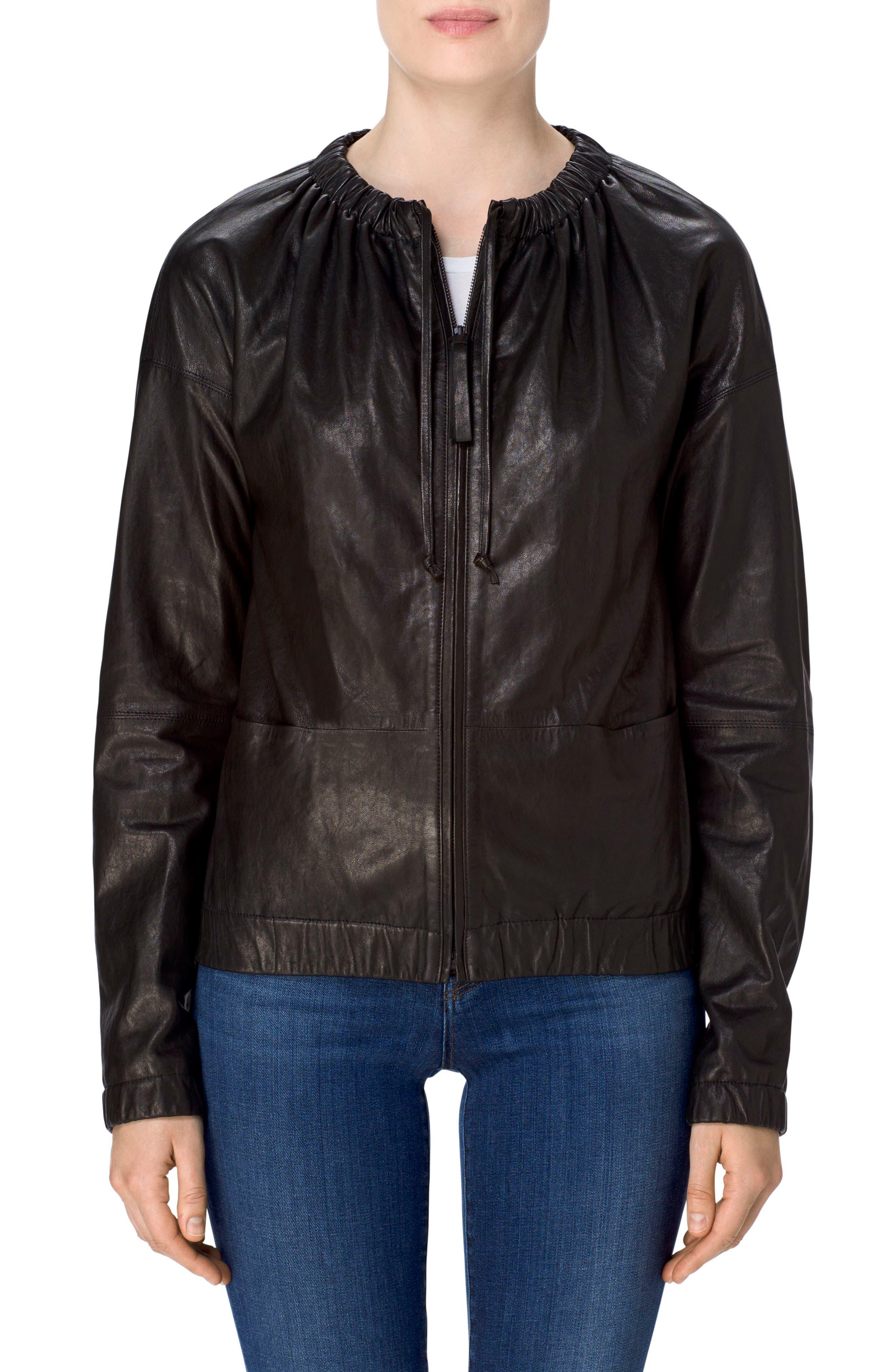 Baez Leather Bomber Jacket,                             Alternate thumbnail 4, color,                             Black