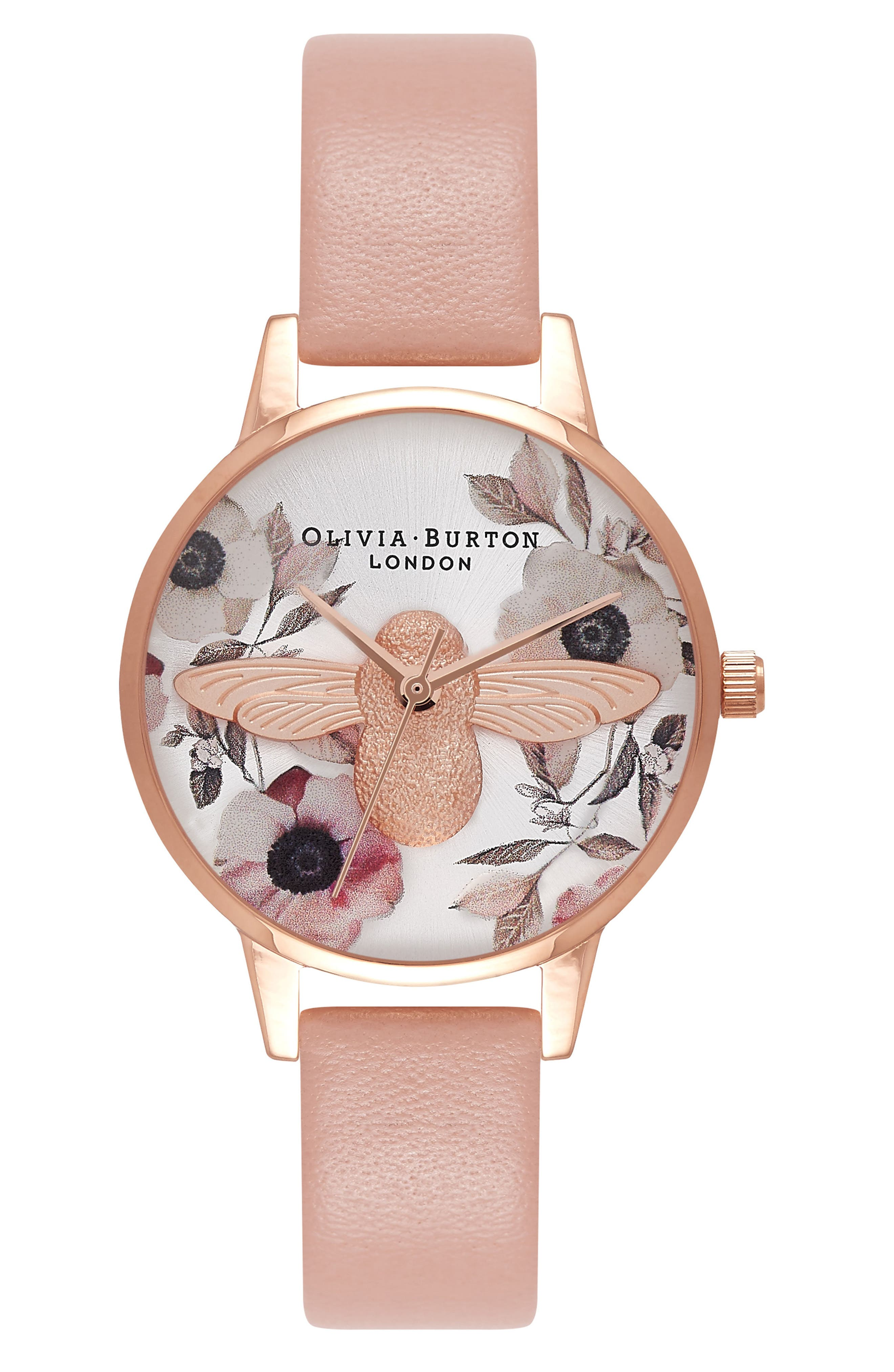 Bee Leather Strap Watch, 30mm,                             Main thumbnail 1, color,                             Dusty Pink/ Bee/ Rose Gold