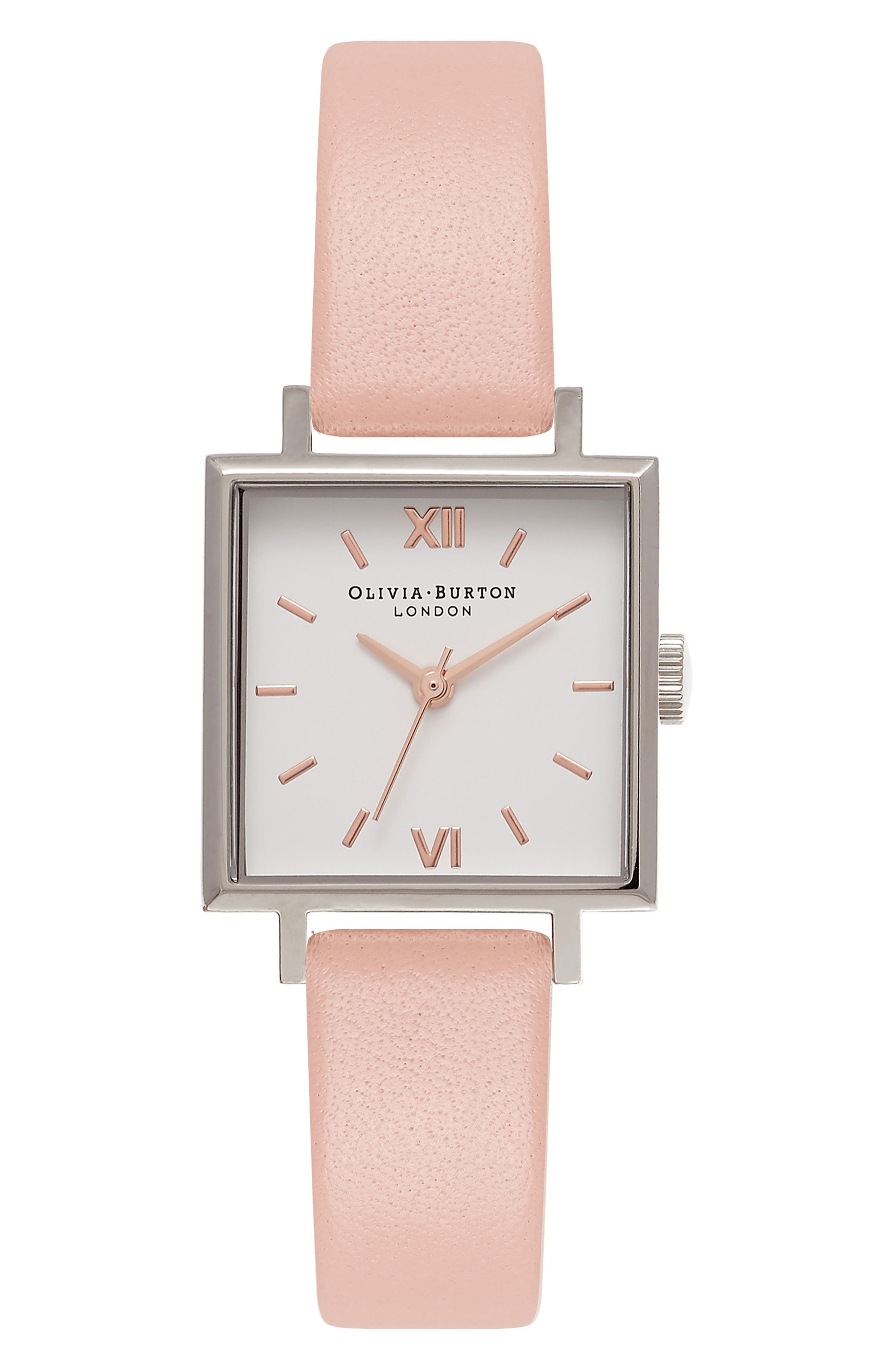Square Leather Strap Watch, 23mm,                         Main,                         color, Dusty Pink/ White/ Silver