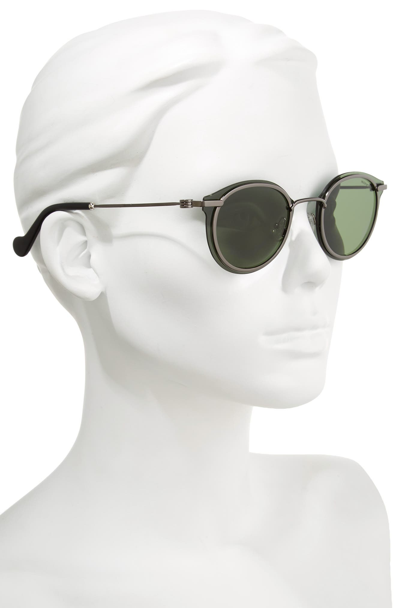 58mm Mirrored Round Sunglasses,                             Alternate thumbnail 2, color,                             Shiny Gunmetal/ Green